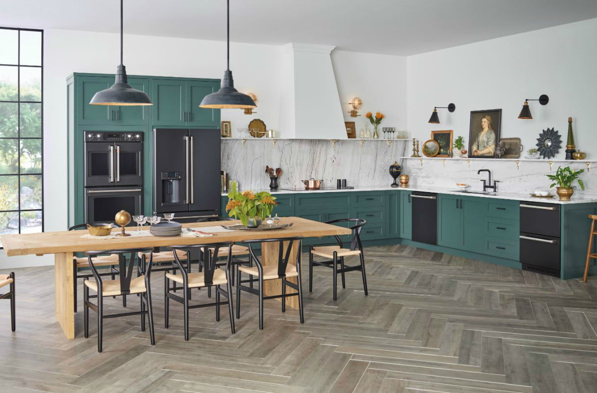 GE combines three trends into one kitchen with their line of matte black appliances showcased in a home with colored cabinets!