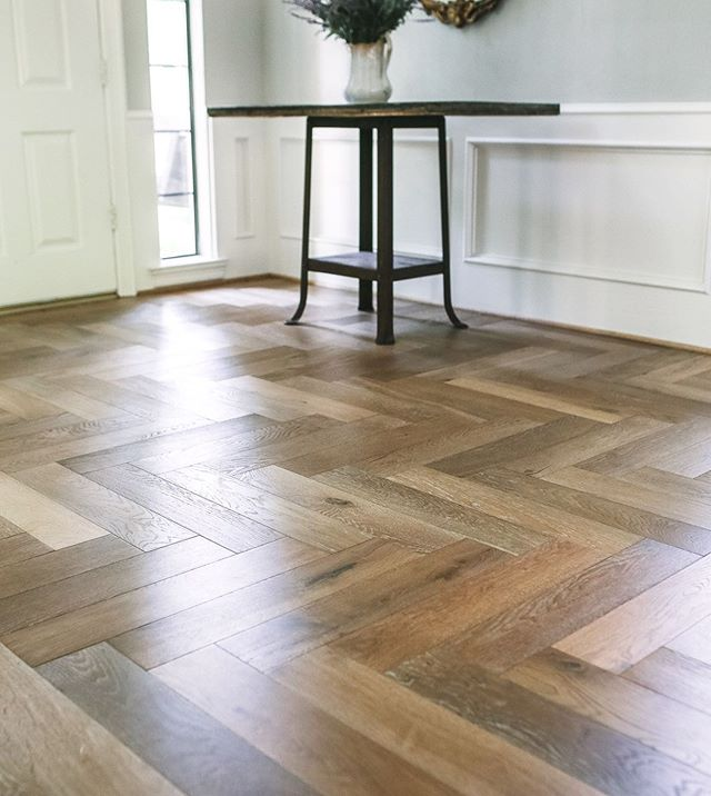 When the floors steal the show. @duchateauofficial #luxurywood #herringbone #letsremodel