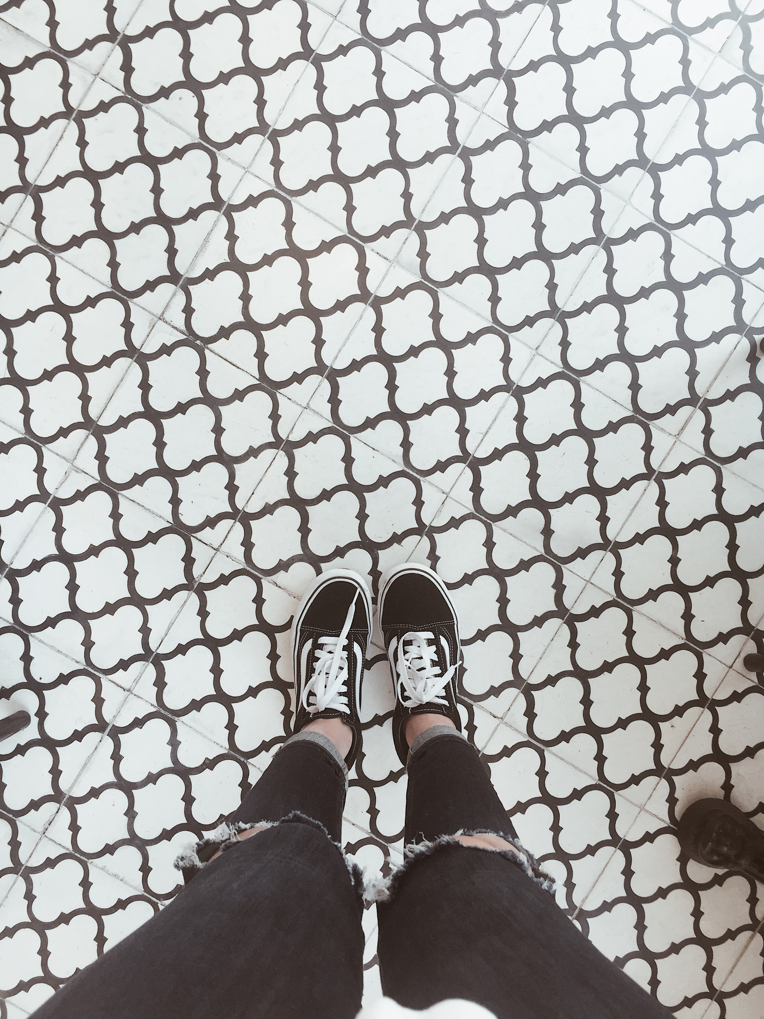 - Loved the tile design at Carrera cafe. Perfect shoe photo op.