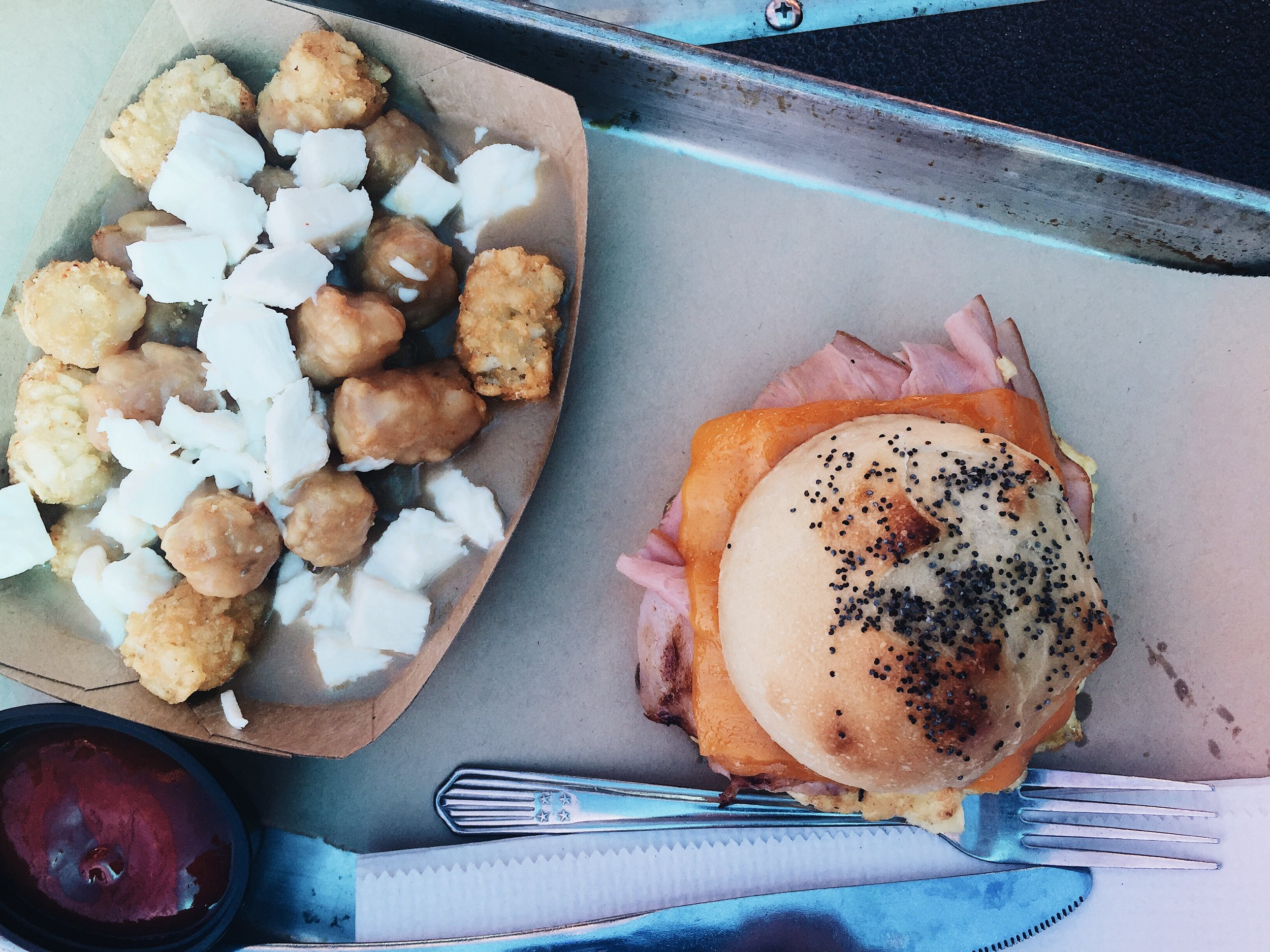 Deli Breakfast Sandwich with some Putin Tots on the side. -