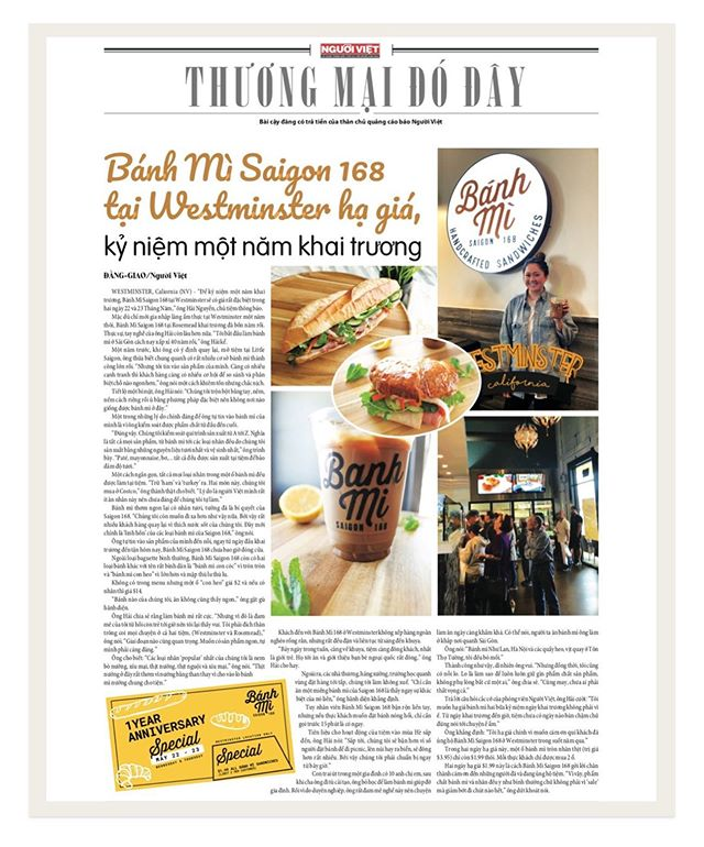 We've been featured by Nguoi Viet Online for our 1 Year Anniversary! Come stop by and grab your $1.99 bánh mì sandwiches today! (*Limit 2 per customer).