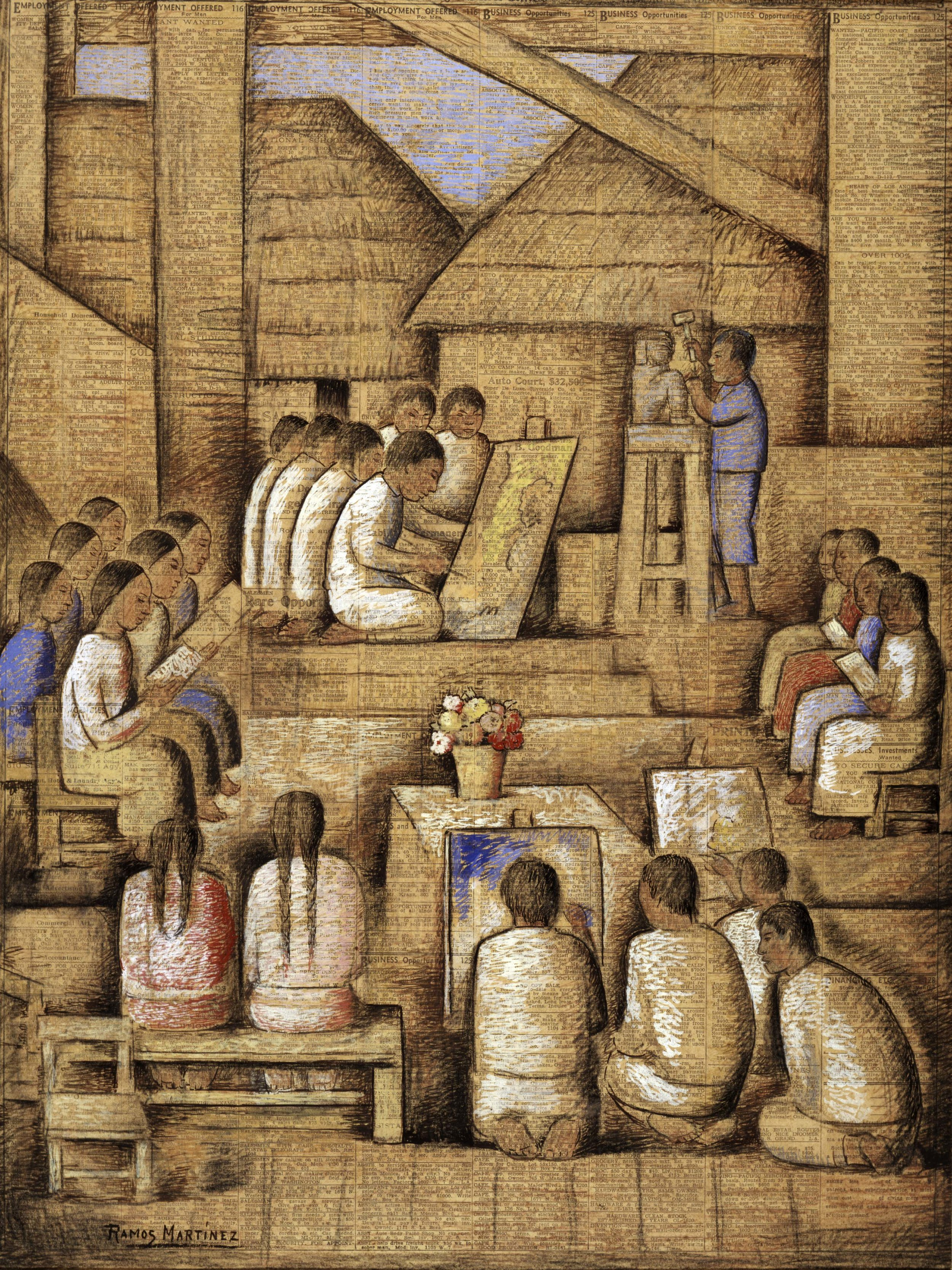 La Escuela / The School  1937 gouache, charcoal, and watercolor on newsprint / guada, carbón, y acuarela sobre papel periódico ( Los Angeles Times ) 21.8 x 16.4 inches / 55.3 x 41.6 centímetros Santa Barbara Museum of Art, Gift of the P.D. McMillan Land Company