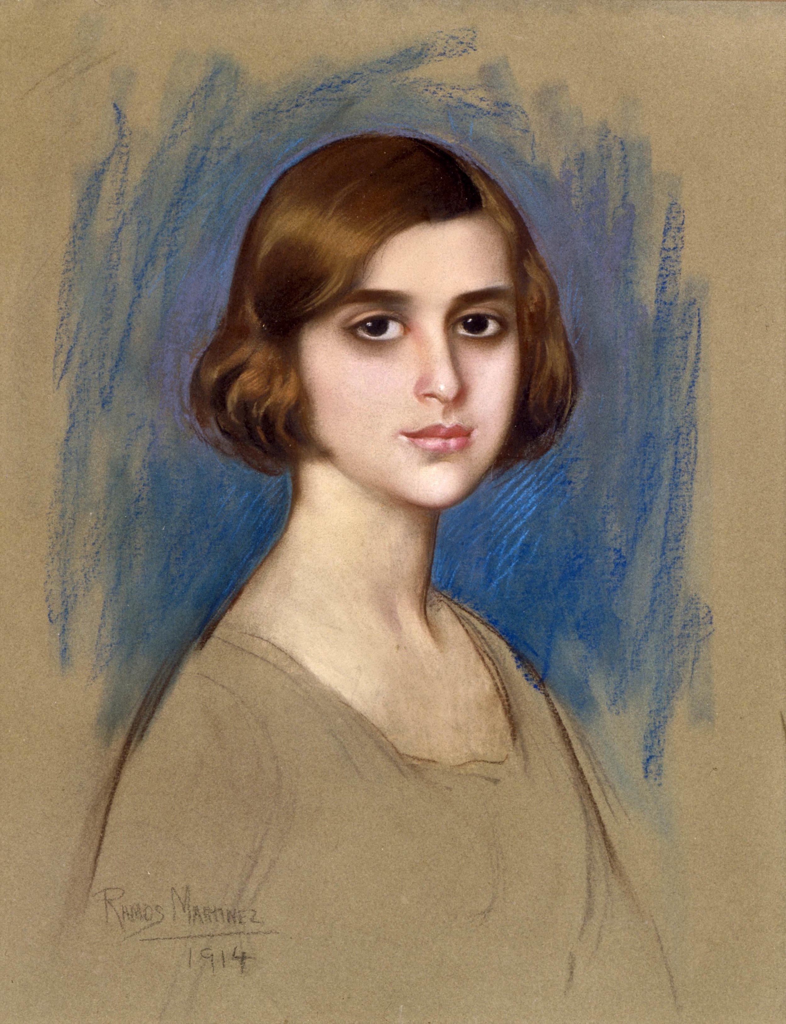 Retrato de una Dama (Portrait of a Lady)  1914 pastel on cardboard /pintura al pastel sobre papel cartón 25.2 x 19.3 inches / 64 x 48.9 centímetros Private collection