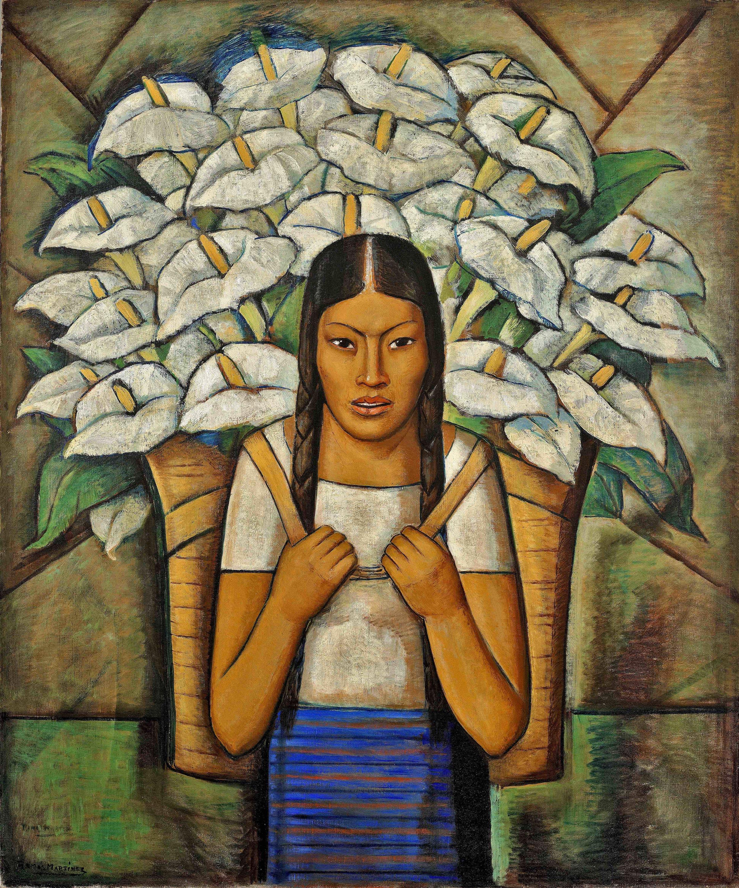 Vendedora de Alcatraces / Calla Lily Vendor  1929 oil on canvas / óleo sobre tela 45.8 x 36 inches / 116.2 x 91.4 centímetros Private collection