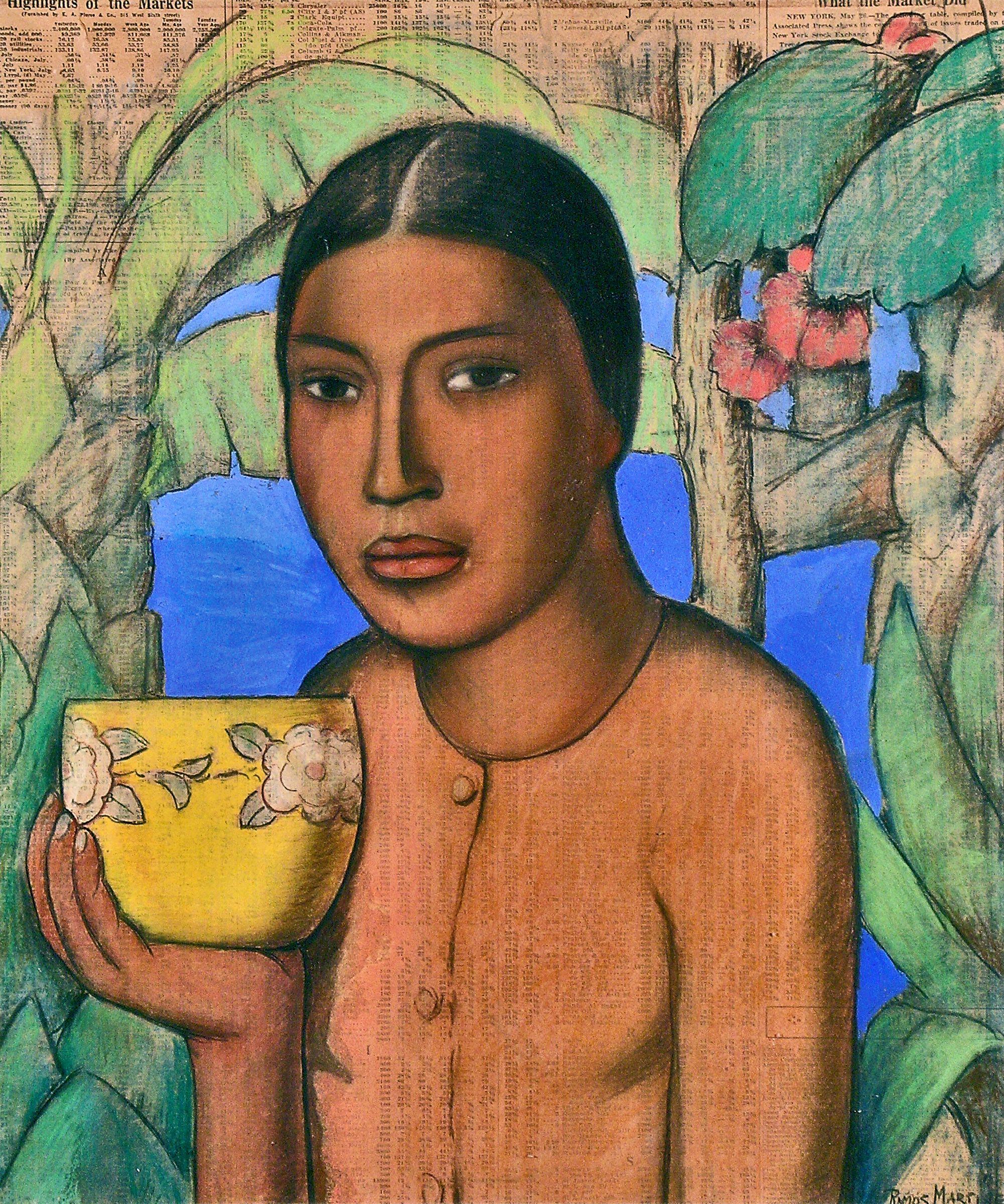 India con Tazo   /Indian Woman with Bowl  ca. 1930 pastel and tempera on newsprint /pintura al pastel y temple pastel sobre papel perióco 18.3 x 15.3 inches; 46.4 x 38.4 centímetros Private collection