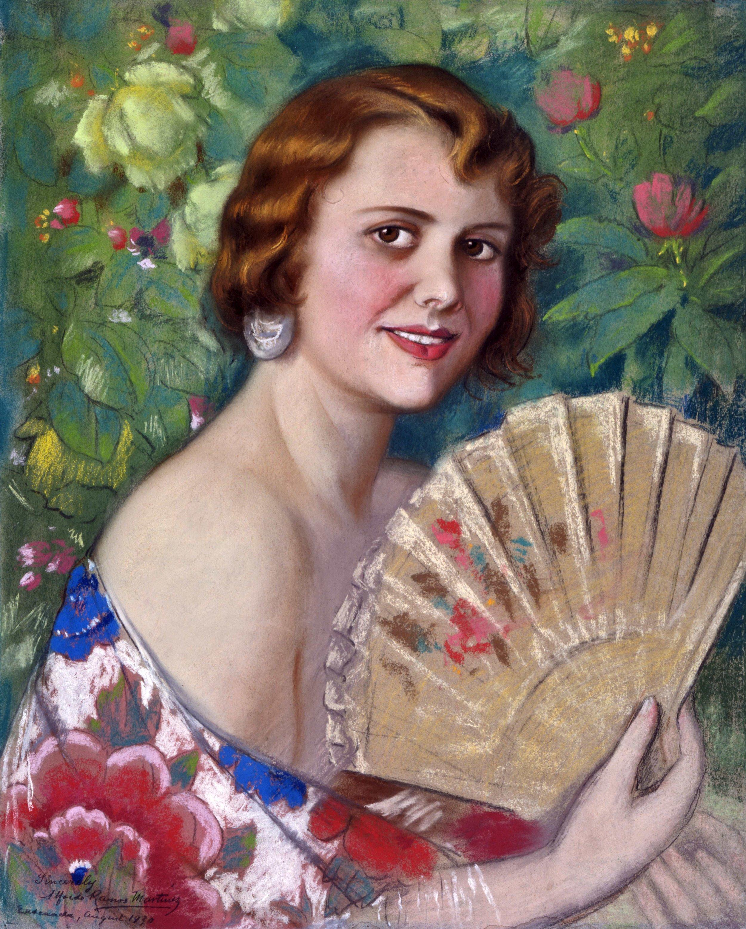 Marguerita en Flores  /Portrait of May C. Healy 1930 pastel on paper /pintura al pastel sobre papel 24 x 19.3 inches; 61 x 49 centímetros Private collection