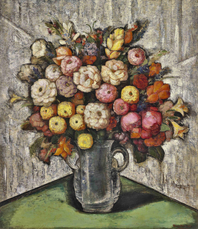 Flores en Cristal / Flowers in Crystal  ca. 1930 oil on canvas / óleo sobre tela 32 x 28 inches / 81.3 x 71/1 centímetros