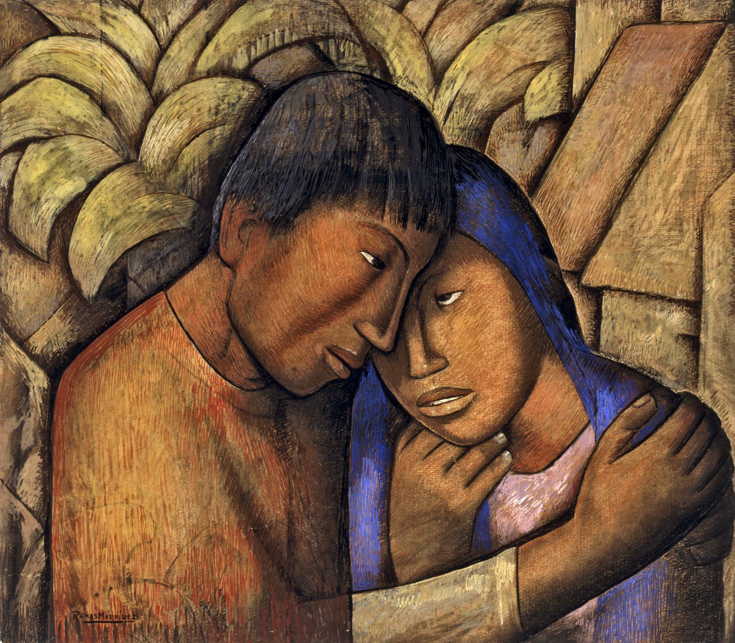 Los Amantes / The Lovers  ca. 1930 watercolor and gouache on paper / acuarela y aguada sobre papel 22.8 x 25.6 inches / 57.8 x 65.1 centímetros Santa Barbara Museum of Art