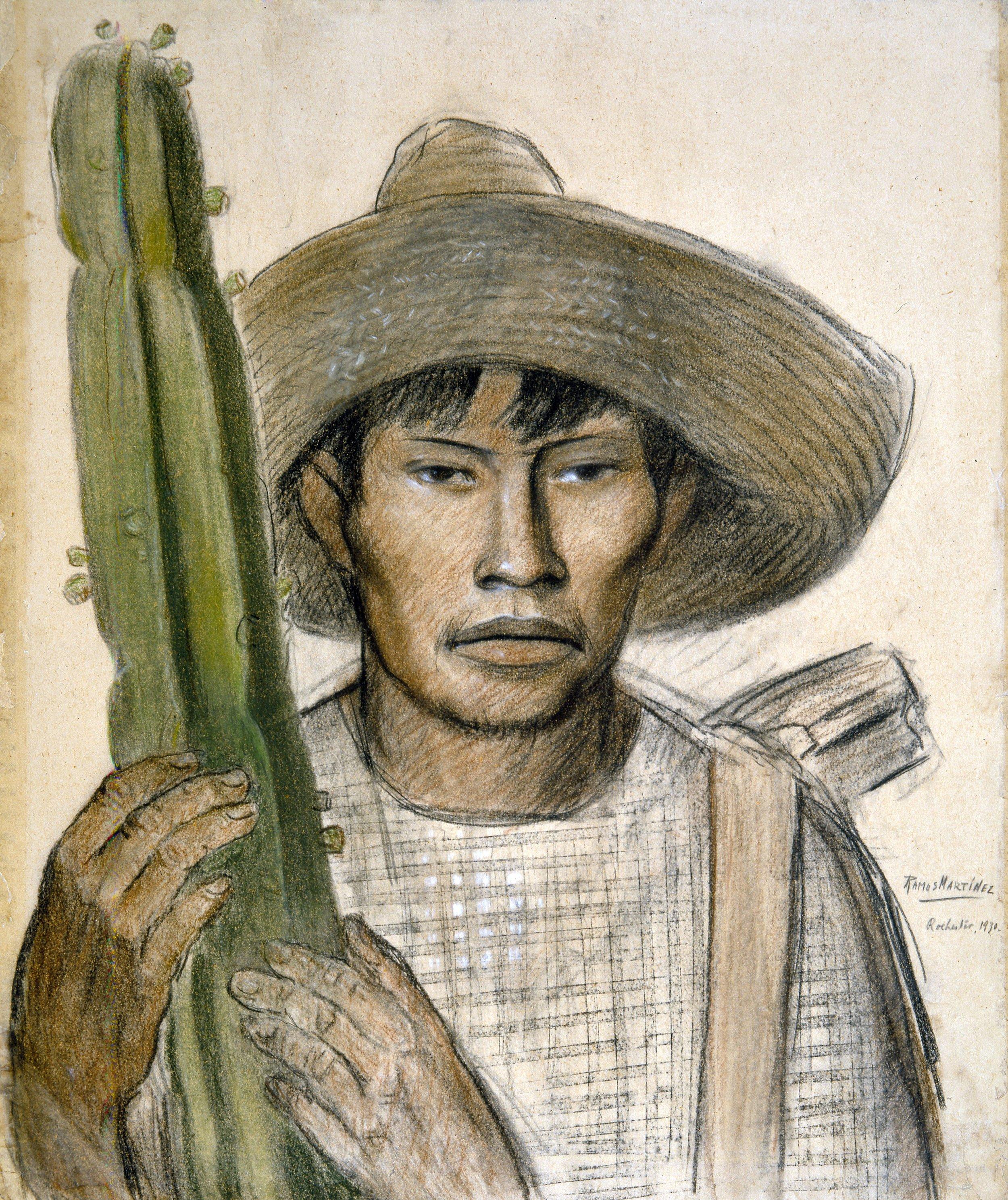 Joven Mexicano con Nopal / Mexican Boy with Cactus  1930 pastel and Conté crayon on paper / pintura al pastel y crayon Conté sobre papel 19 x 23.3 inches;48.3 x 59.1 centímetros Private collection