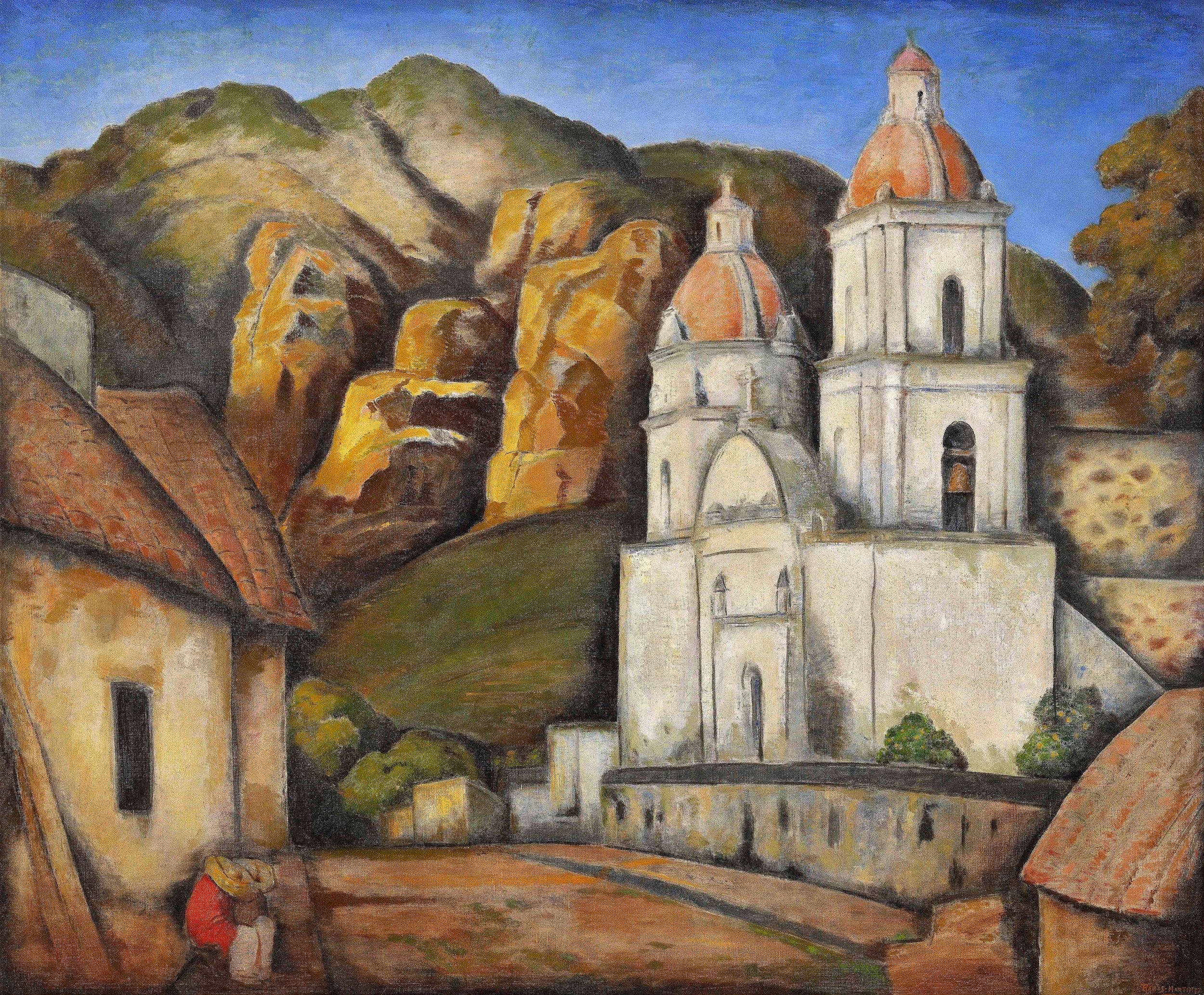 La Iglesia de Texcoco / The Church of Texcoco  1930 oil on canvas / óleo sobre tela 40 x 48 inches;101.6 x 121.9 centímetros Private collection