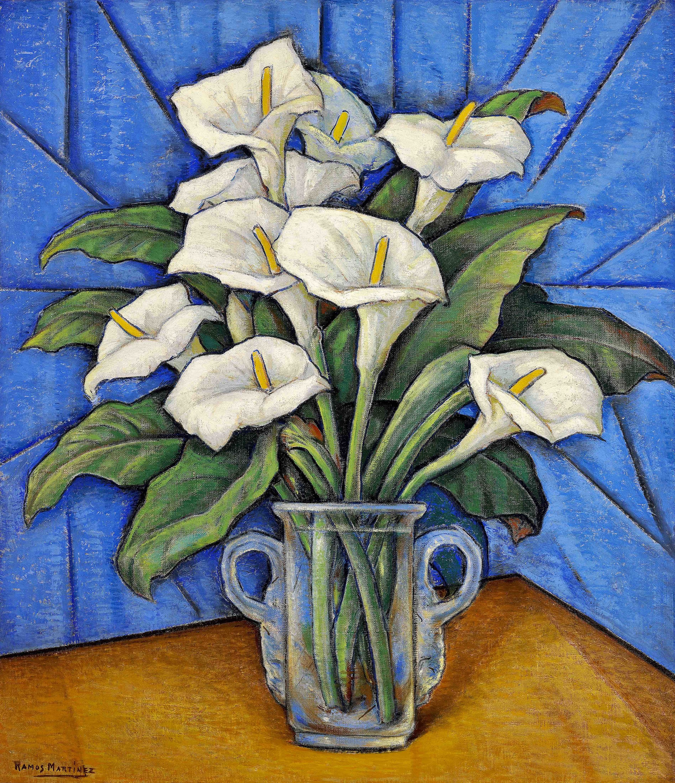 Alcatraces / Calla Lilies  ca. 1930 oil on canvas / óleo sobre tela 32 x 27 inches; 81.3 x 68.6 centímetros Private collection