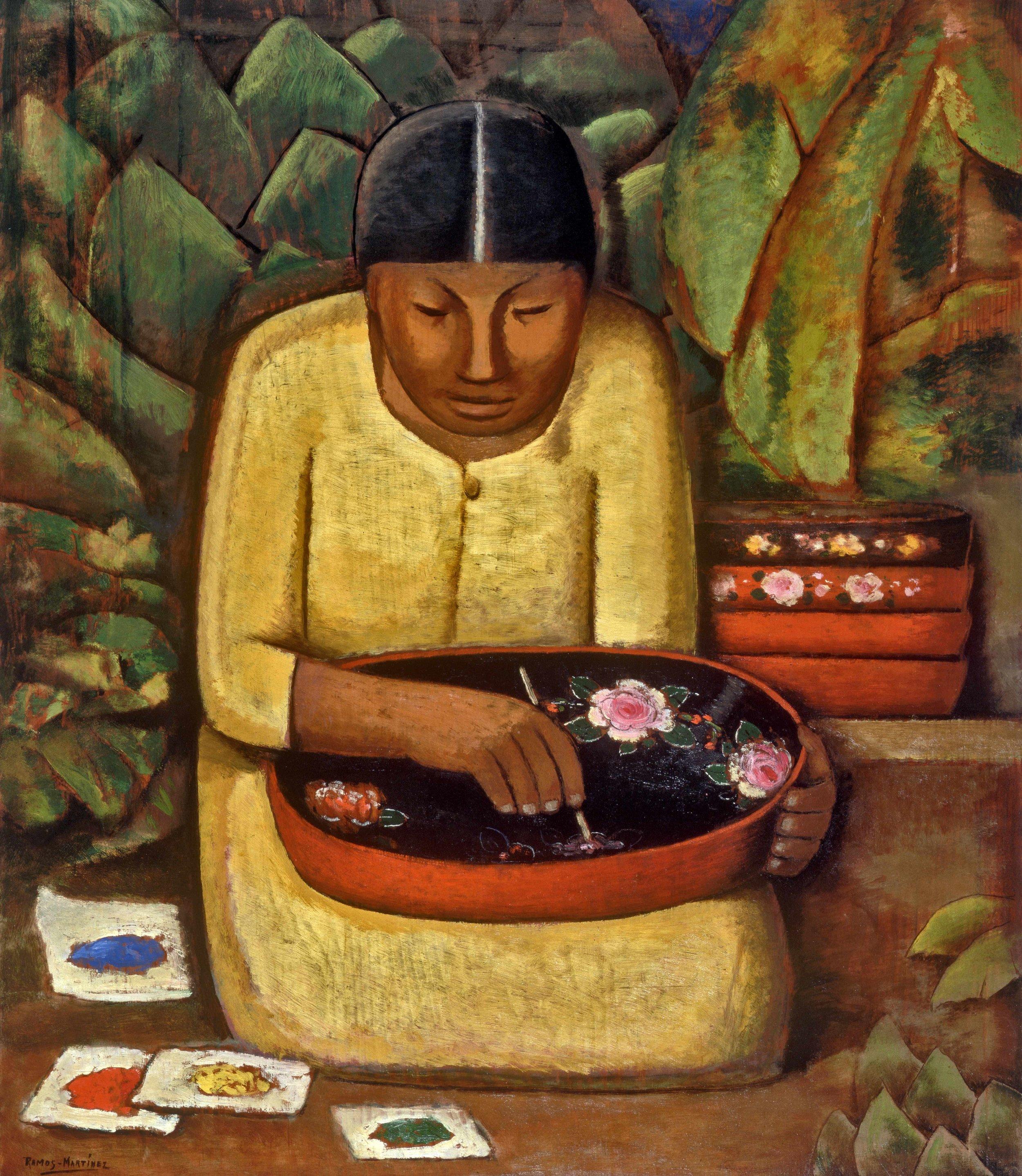 La Pintora de Uruapan / Uruapan Painter  ca. 1930 oil on board / óleo sobre tabla 28 x 24 inches; 71.1 x 61 centímetros Santa Barbara Museum of Art