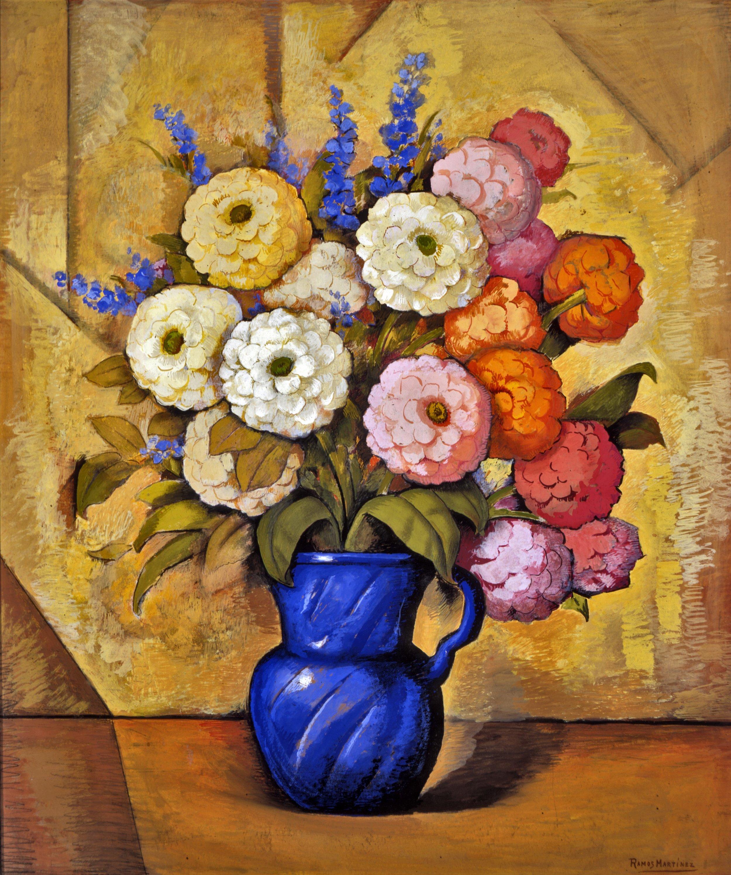 Jarrón Azul con Flores / Flowers in a Blue Vase  ca. 1934 tempera on paper / temple sobre papel 36 x 29.9 inches; 91.4 x 75.9 centímetros Private collection