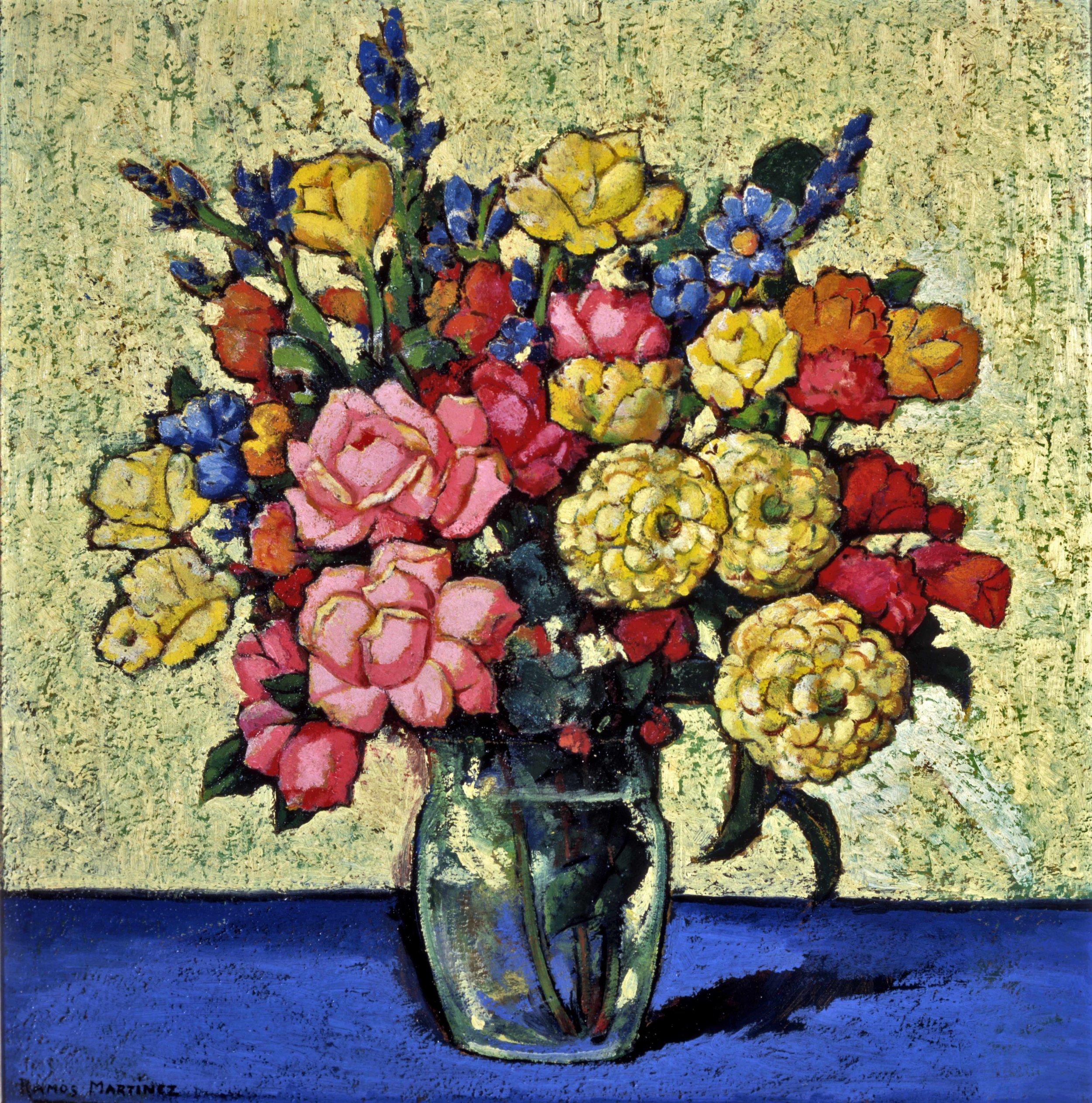 Jarrón con Flores / Vase with Flowers  ca. 1936 oil on masonite / óleo sobre masonite 25.56 x 25.56 inches; 64.92 x 64.92 centímetros Private collection