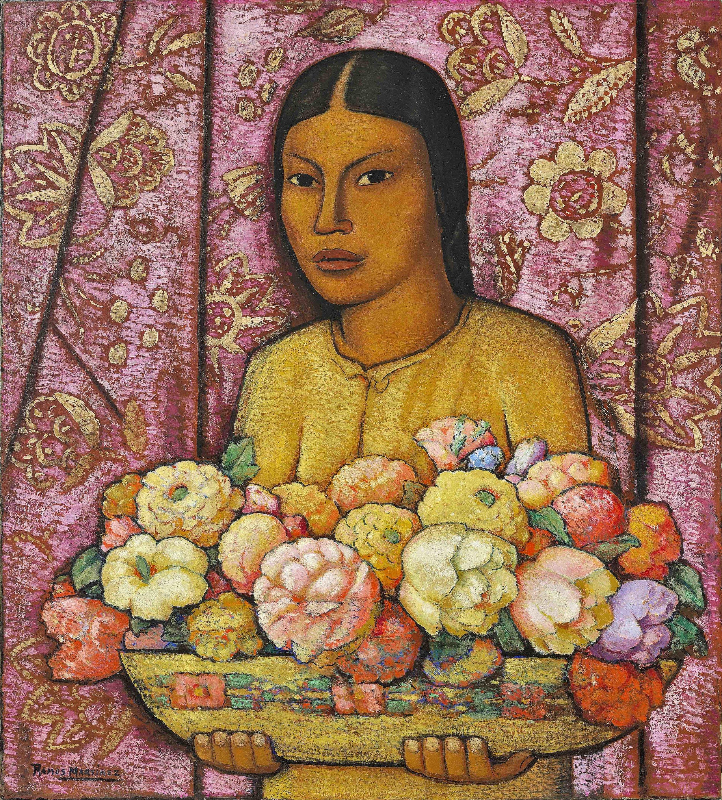 La Florera de Santa Anita / The Flower Girl from Santa Anita  ca. 1932 oil on canvas / óleo sobre tela 26 x 23.5 inches; 66 x 59.7 centímetros Private collection