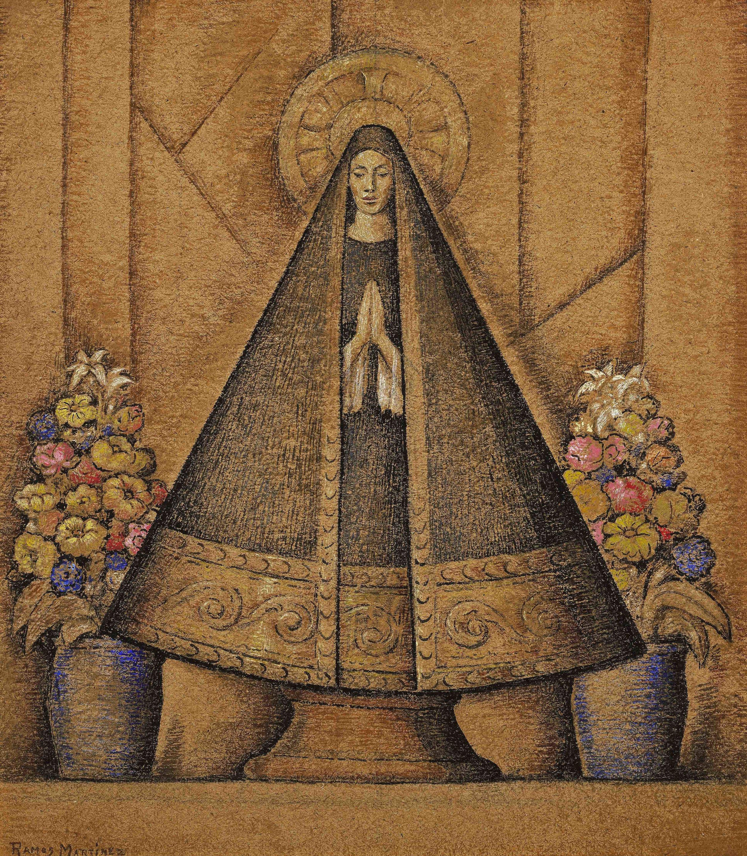 La Virgen de San Juan / Virgin of San Juan  ca. 1940 oil on pressed board / óleo sobre tabla comprimida 29.3 x 26.3 inches; 74.3 x 66.7 centímetros Santa Barbara Museum of Art