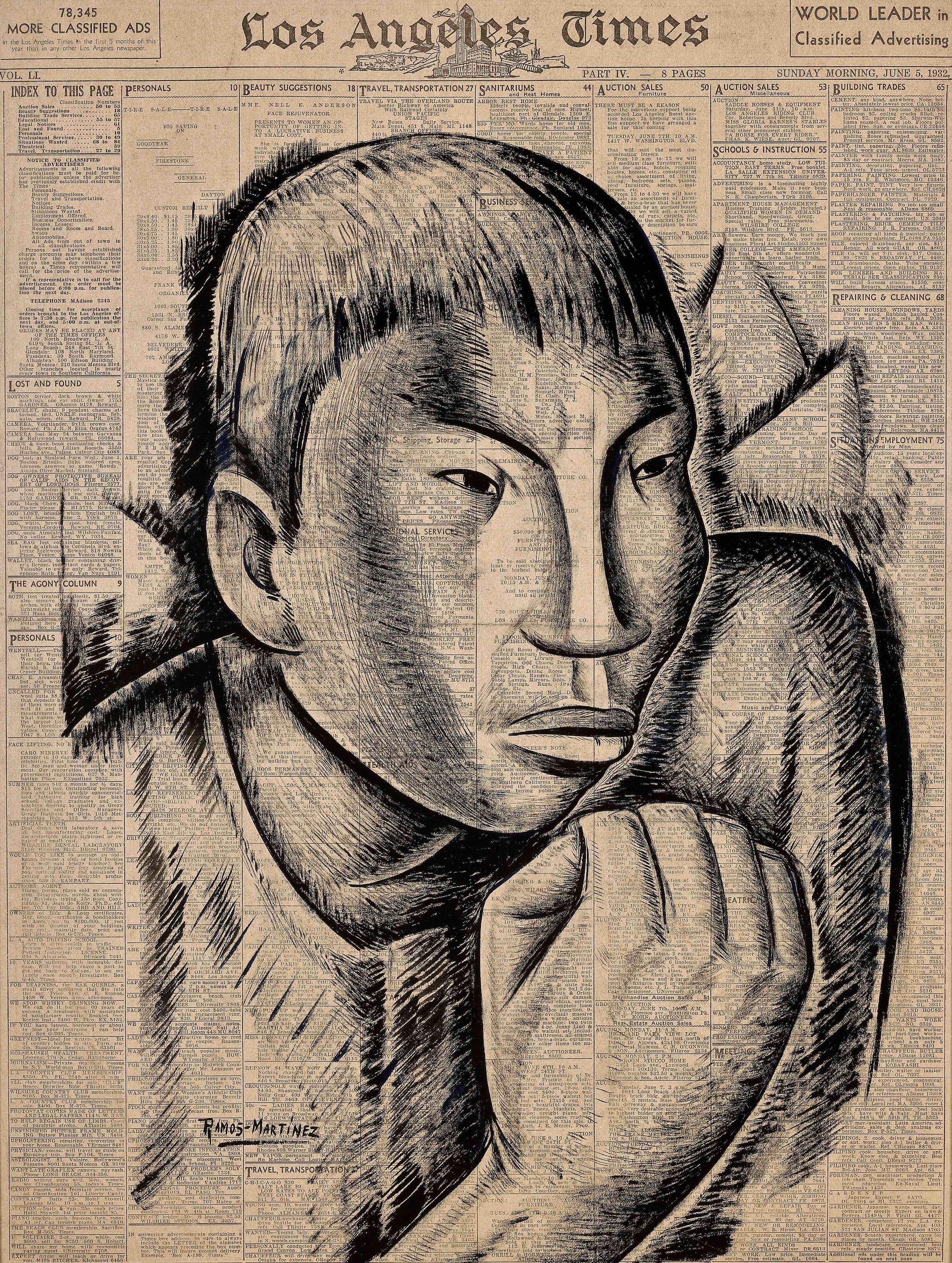 El Defensor / The Protector  1932 tempera and Conté crayon on newsprint / temple y crayon Conté sobre papel periódico ( Los Angeles Times , June 5, 1932) 21 x 15.5 inches / 53.3 x 39.4 centímetros Private collection