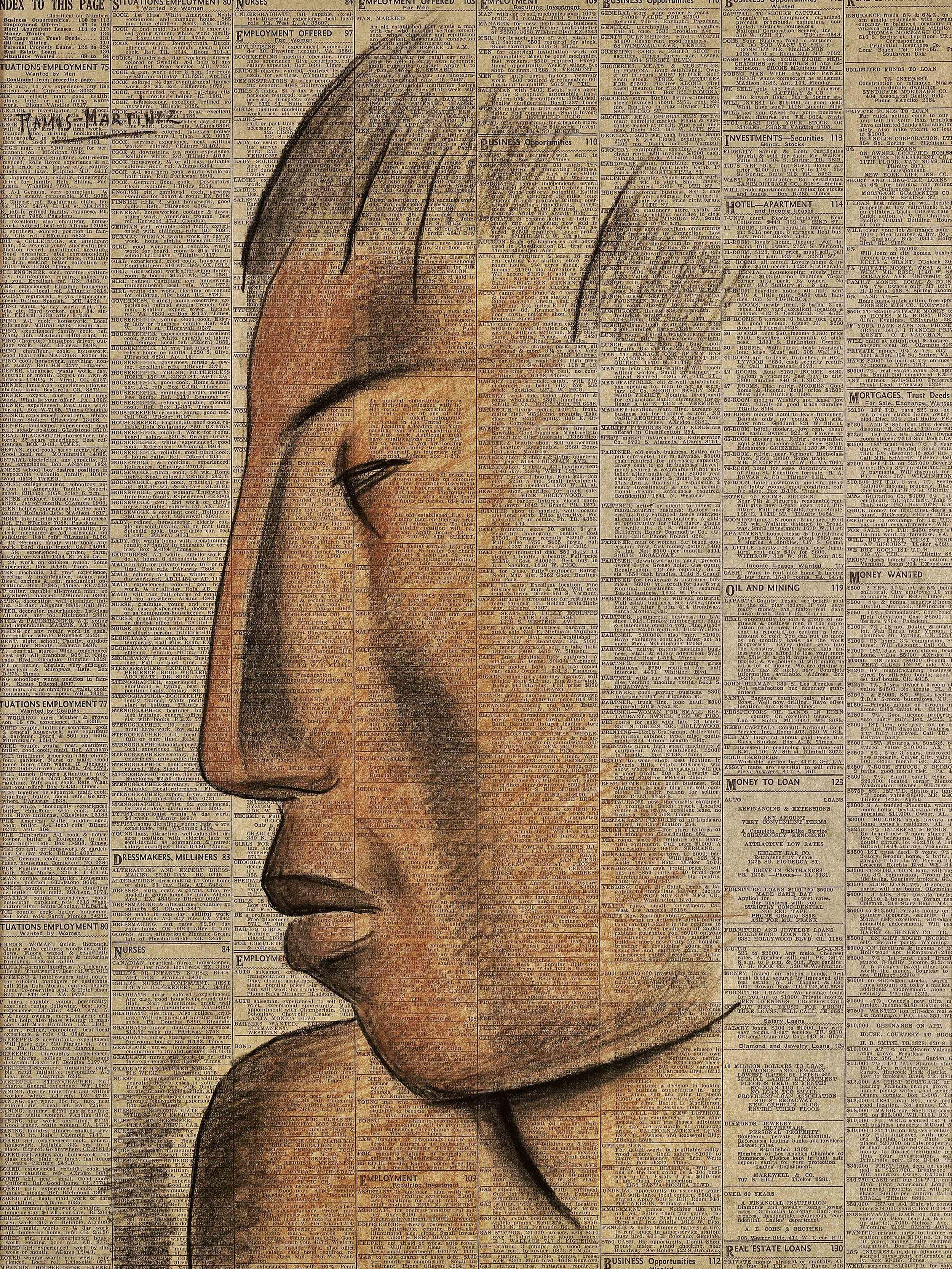 Perfil Azteca / Aztec Profile  1932 Conté crayon on newsprint / crayon Conté sobre papel periódico ( Los Angeles Times , May 16, 1932) 53 x 39.6 inches; 134.6 x 100.6 centímetros Private collection
