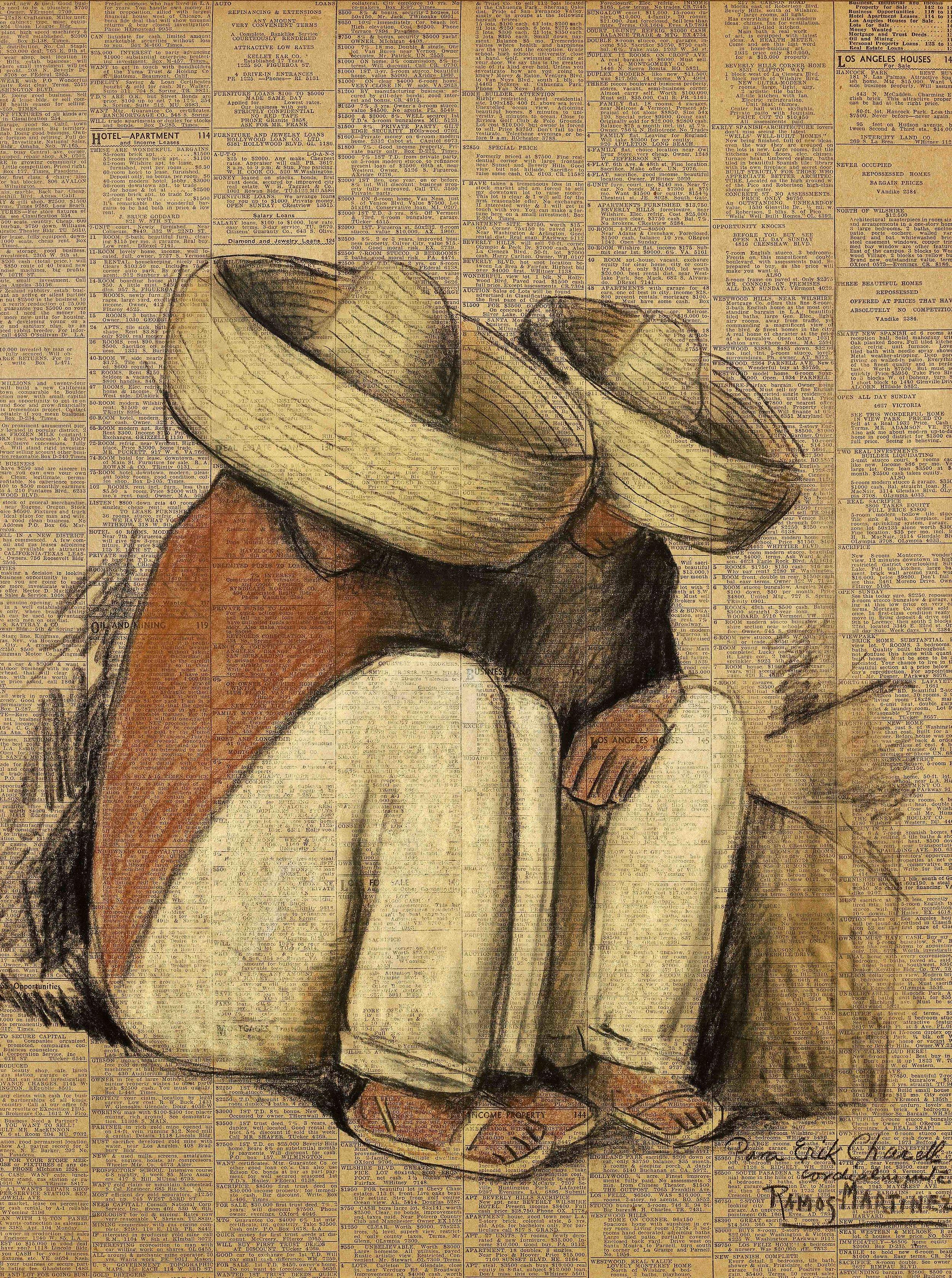 Siesta  1932 pastel, charcoal, and Conté crayon on newsprint / pintura al pastel, carbón y crayon Conté sobre papel periódico ( Los Angeles Times ) 21 x 15.5 inches / 53.3 x 39.4 centímetros Private collection