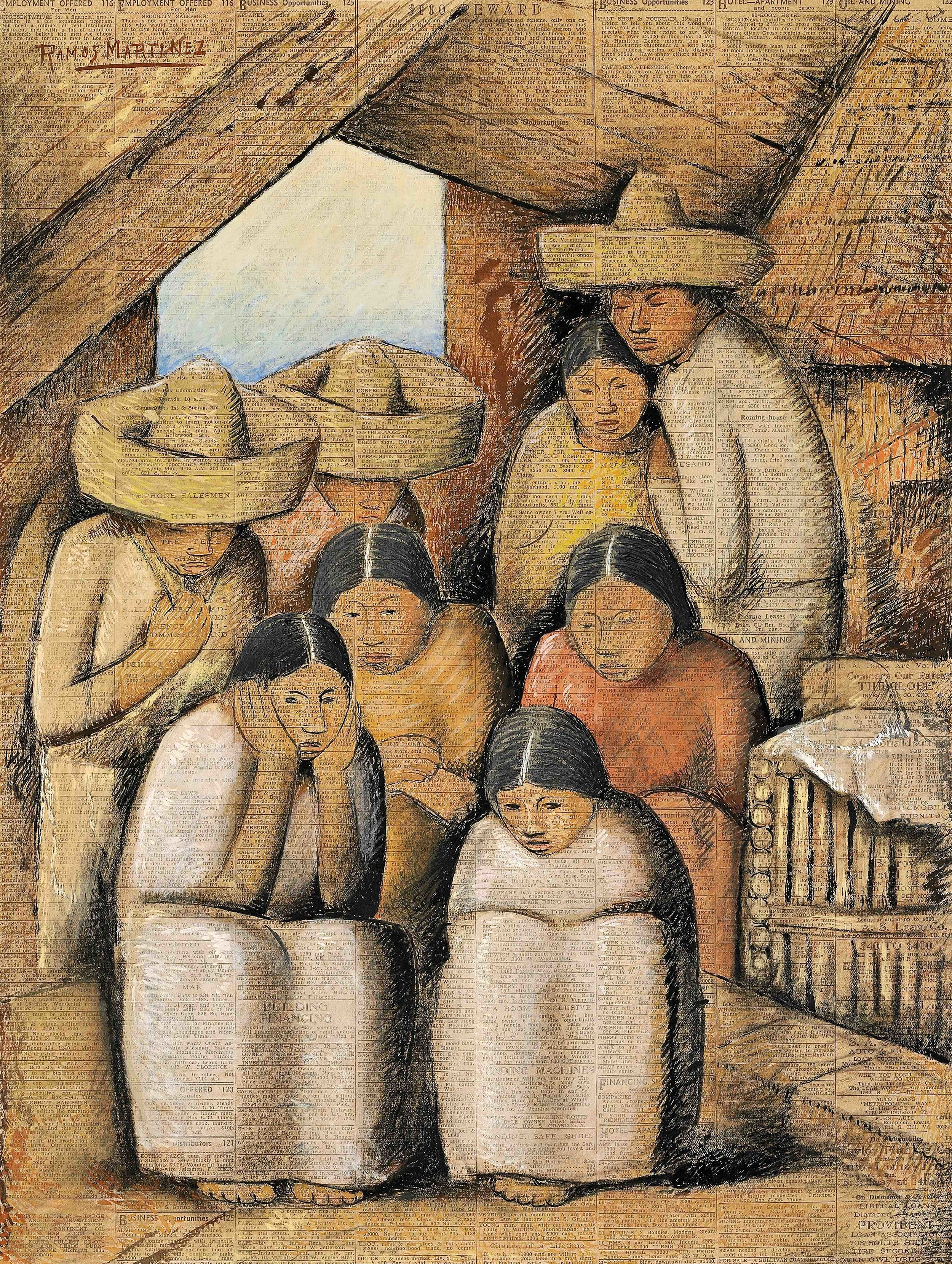 The Family / La Familia  1932 tempera, Conté crayon and pastel on newsprint / temple, crayon Conté y pintura al pastel sobre papel periódico (Los Angeles Times) 21.1 x 15.8 inches; 53.7 x 40 centímetros