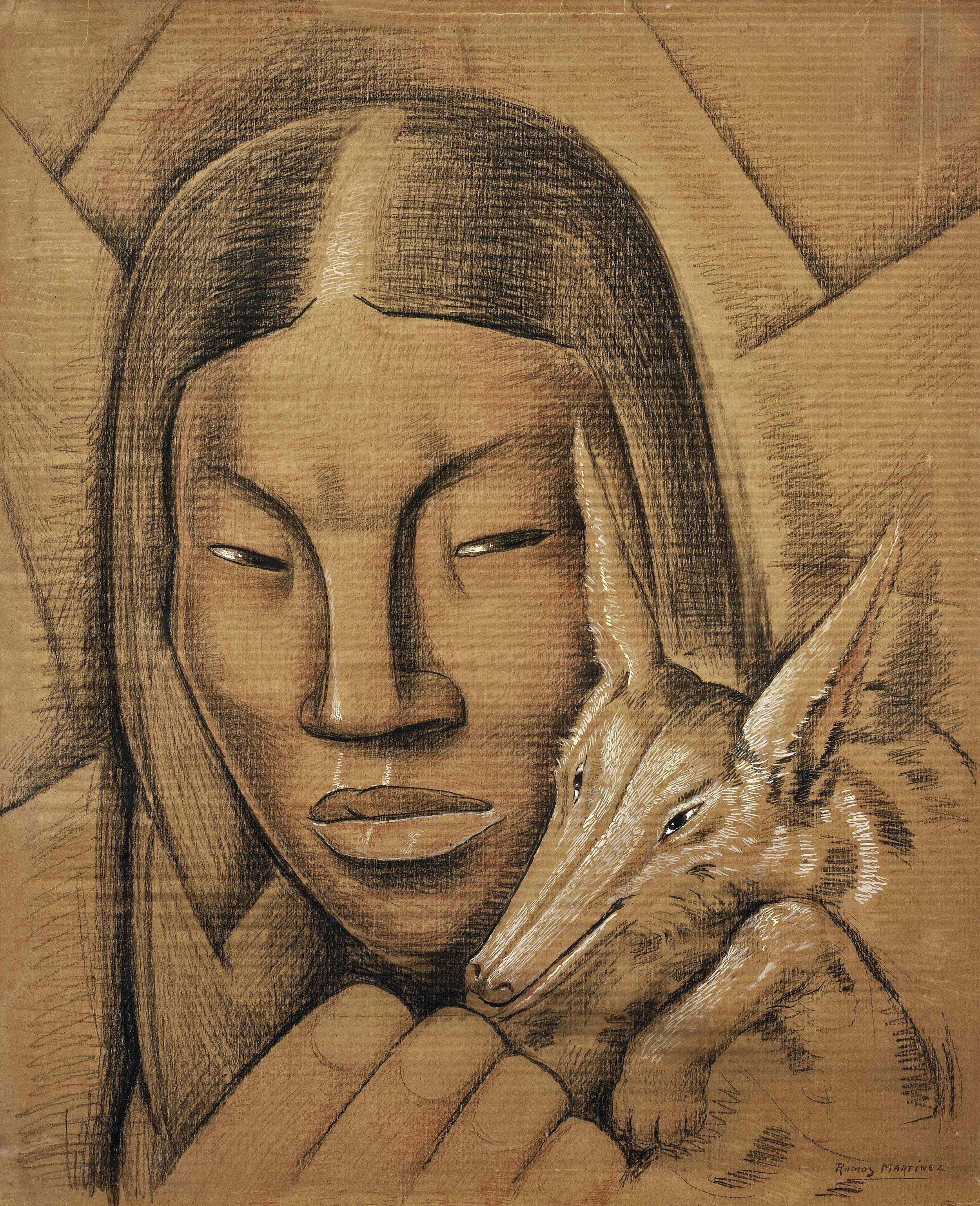 La India Cacomixtle / Indian Woman with Cacomixtle  ca. 1938 Conté crayon, tempera and charcoal on corrugated cardboard / crayon Conté, temple y carbón sobre papel cartón ondulado 42 x 34.5 inches / 106.7 x 87.6 centímetros Private collection