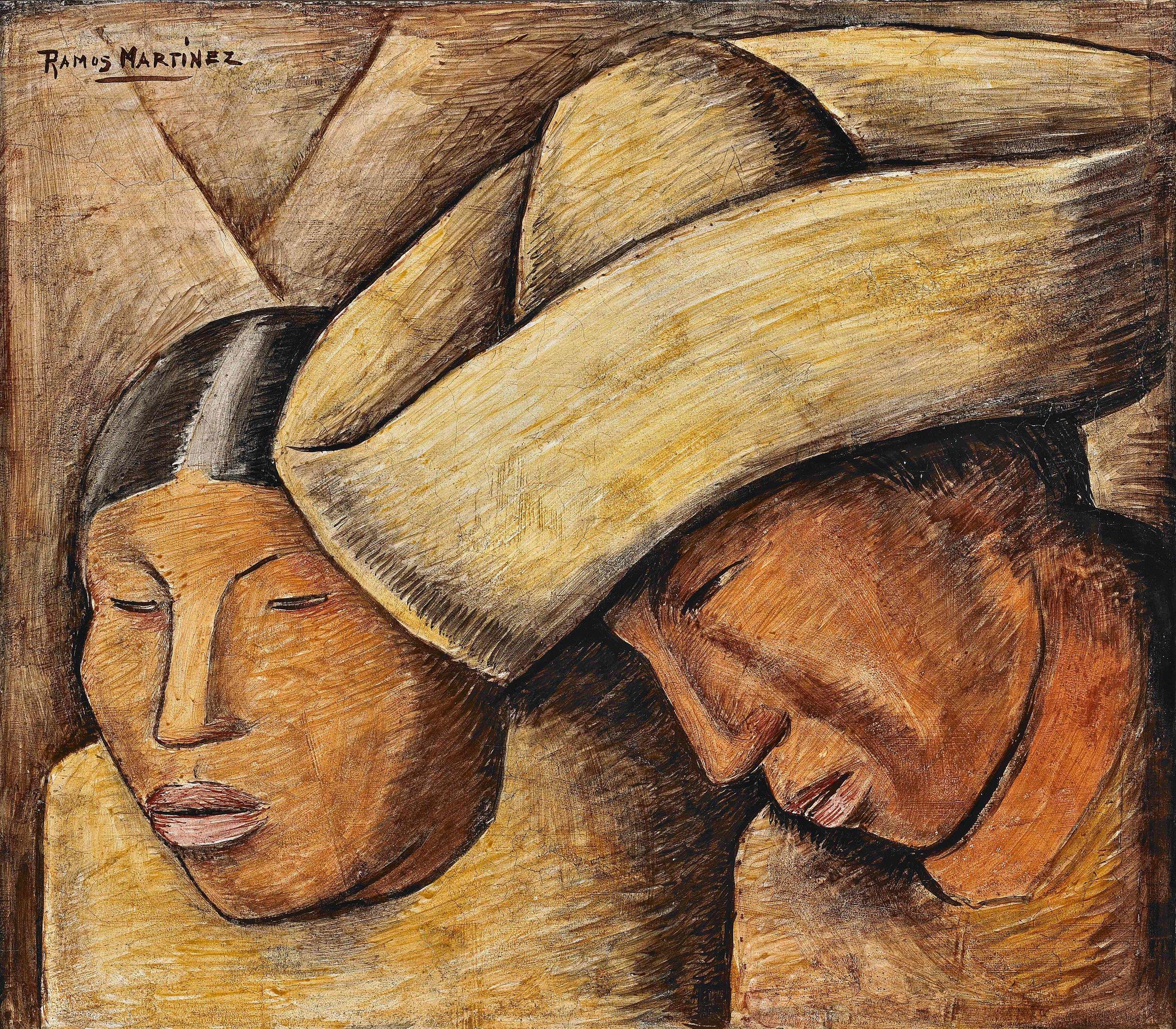 Pareja India / Indian Couple  ca. 1932 fresco 15 x 17 inches; 38.1 x 43.2 centímetros Private collection