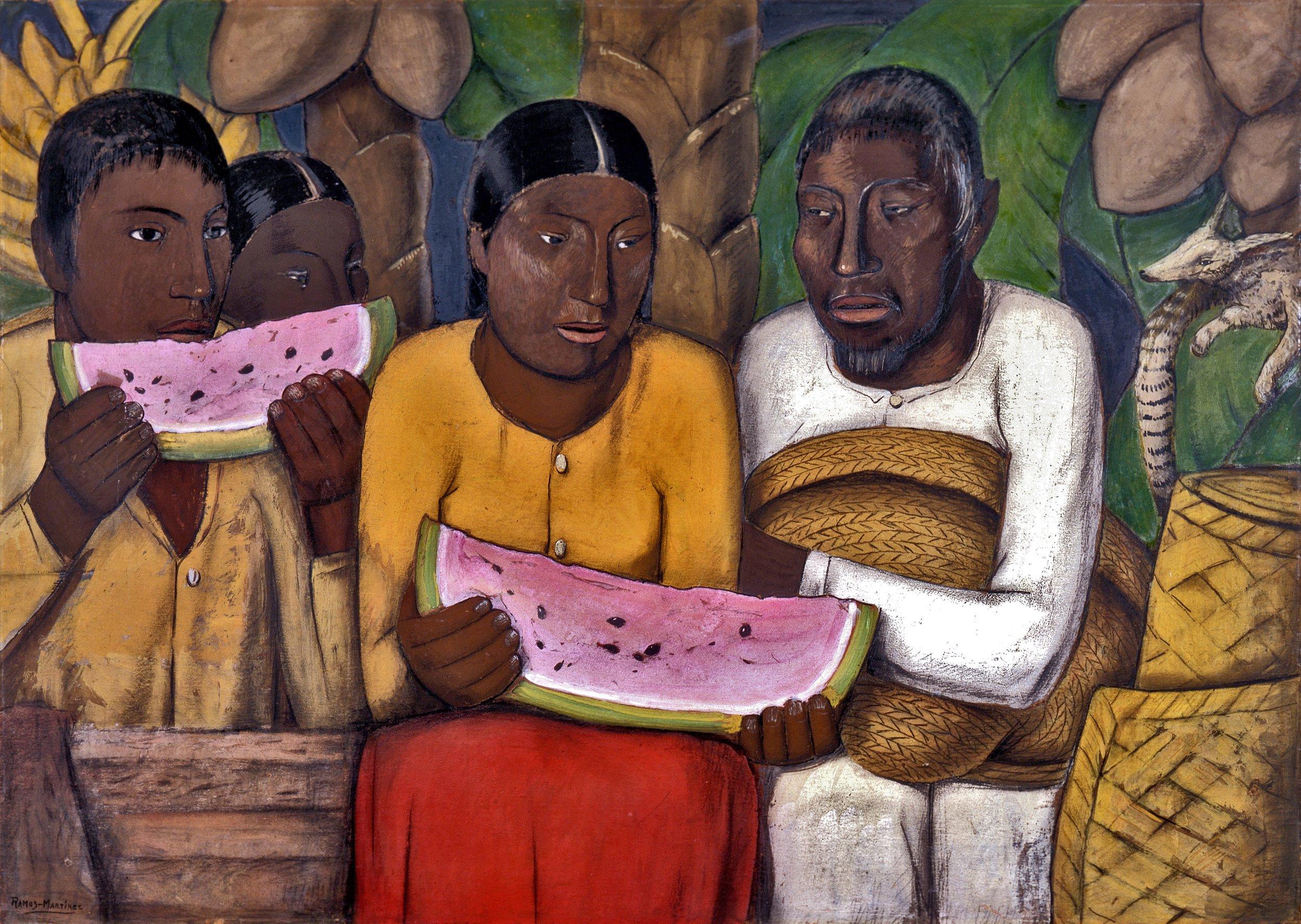 Familia Mexicana / Mexican Family  1932 tempera, Conté crayon and pencil on board / temple, crayon Conté y lápiz sobre tabla 27.9 x 39.2 inches / 70.9 x 99.6 centímetros Private collection