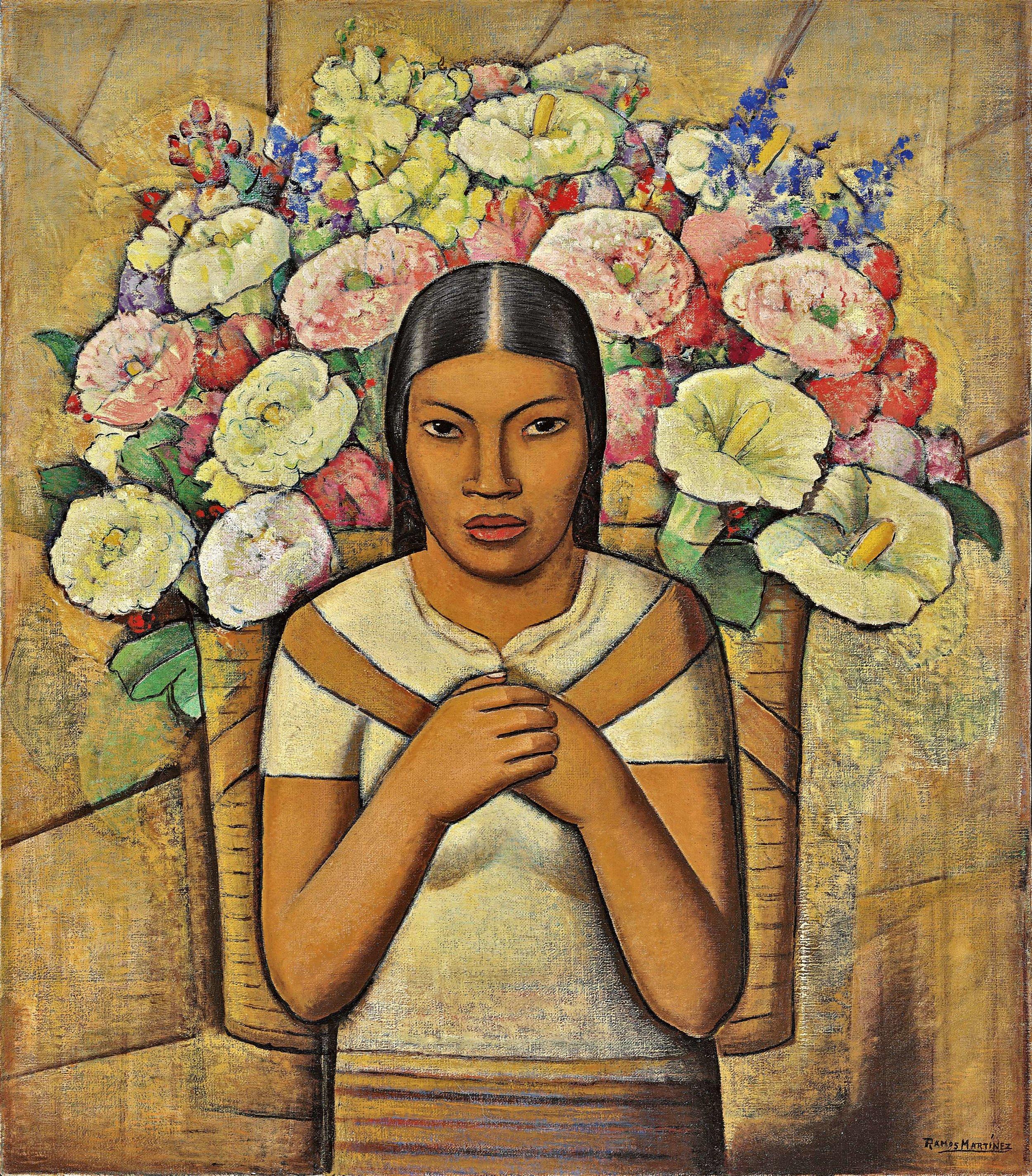 Vendora de Flores / Flower Vendor  1934 oil on canvas / óleo sobre tela 32 x 28 inches; 81.3 x 71.1 centímetros Private collections