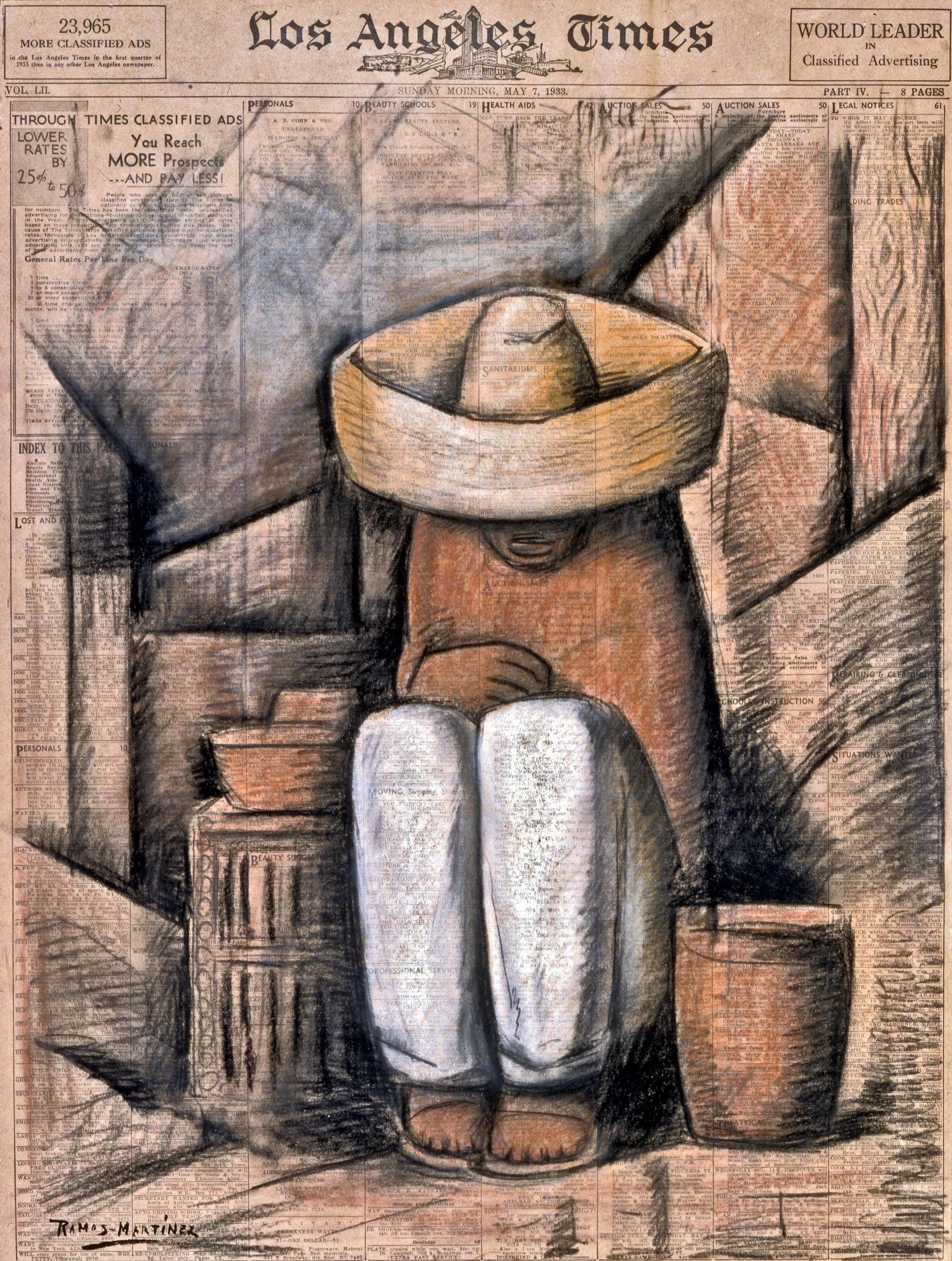 Sin Título / Untitled  1933 charcoal and pastel on newsprint / carbón y pintura al pastel sobre papel periódico (Los Angeles Times, Sunday, May 7, 1933) 22.8 x 17 inches; 57.8 x 43.2 centímetros Private collection