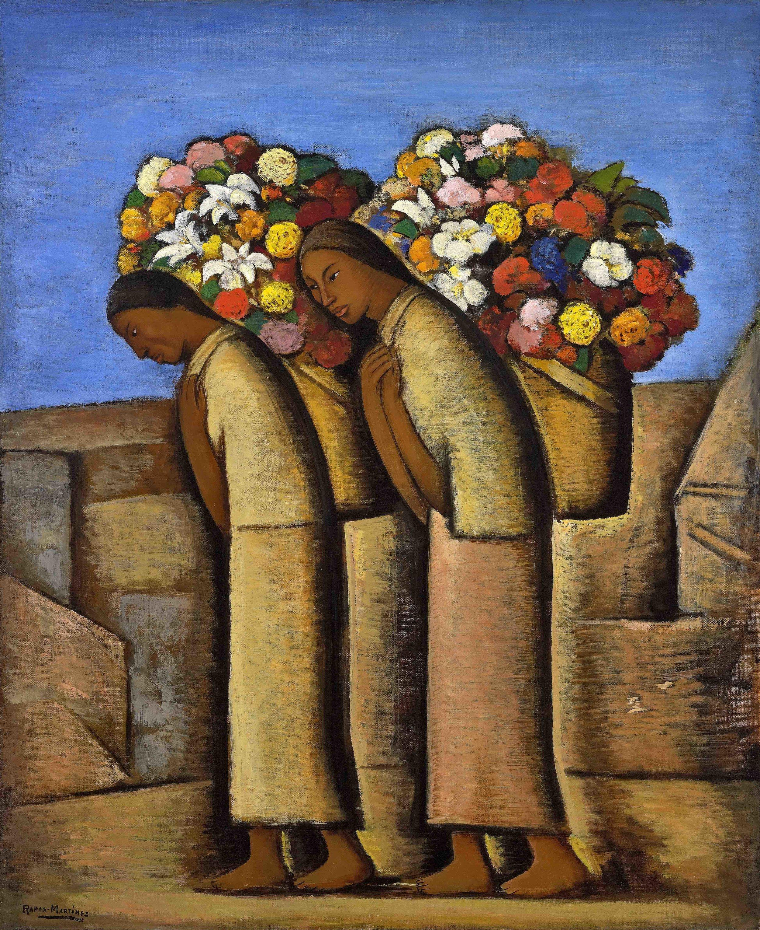 Las Floreras / The Flower Vendors  ca. 1933 oil on canvas / óleo sobre tela 36 x 30 inches; 91.4 x 76.2 centímetros Private collection