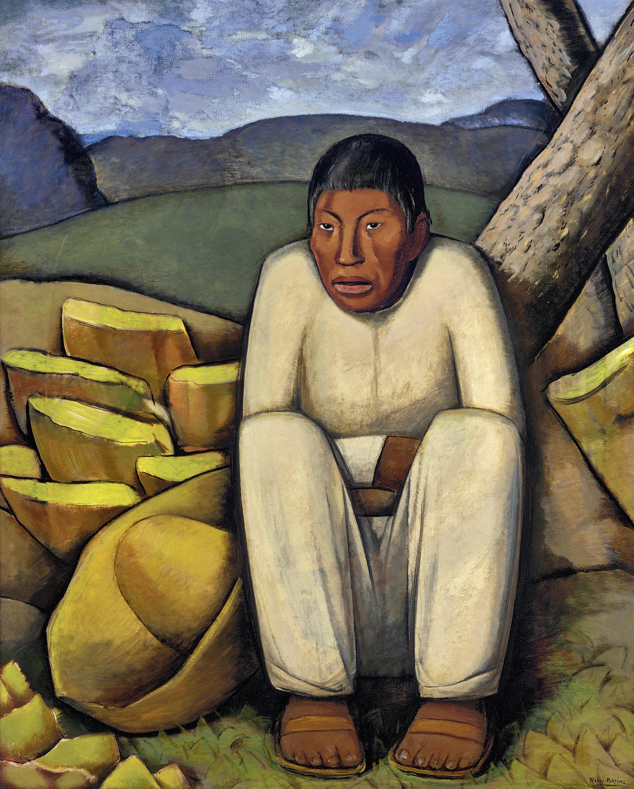 El Indio Solitario / Lonesome Indian  ca. 1933 oil on canvas / óleo sobre tela 44.5 x 36.3 inches; 113 x 92.1 centímetros Private collection