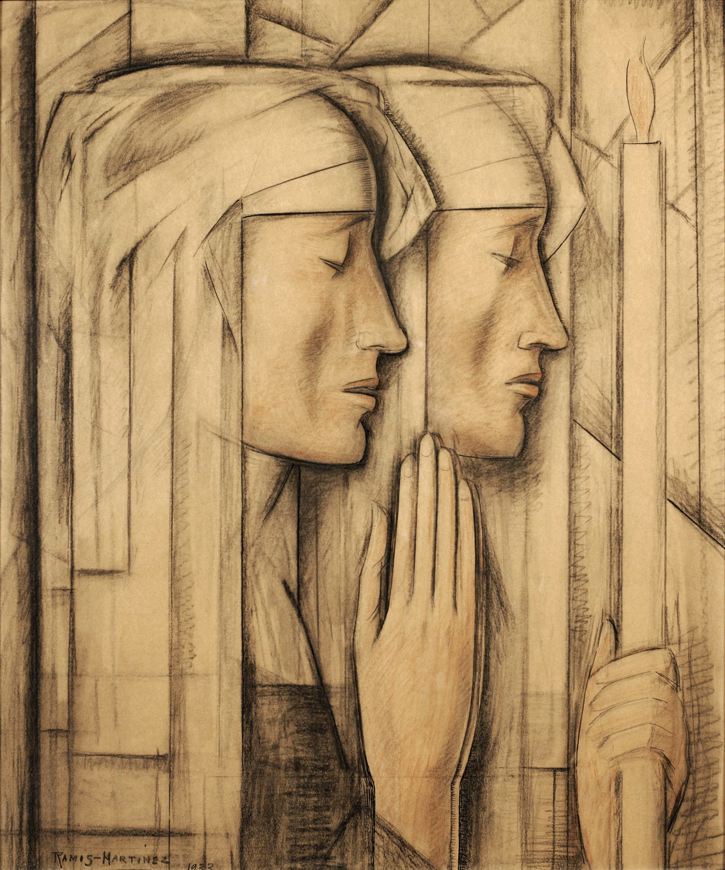 Perfil Dos Monjas / Profile of Two Nuns  1933 pastel, Conté crayon and charcoal on paper / pintura al pastel, crayon Conté y carbón sobre papel 24 x 21 inches / 61 x 53.3 centímetros Private collection