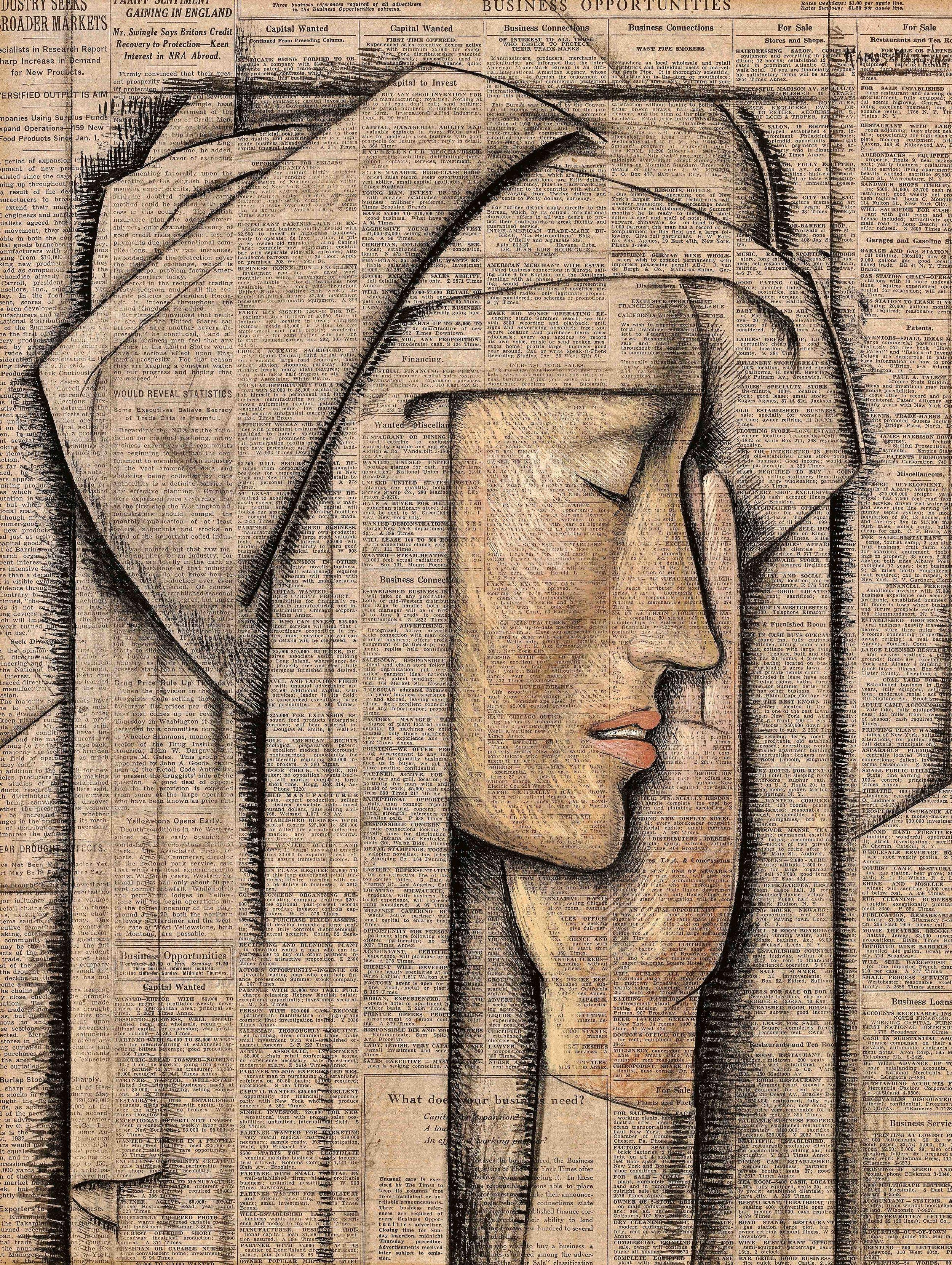 Cabeza de Monja / Head of a Nun  1934 tempera on newsprint / temple sobre papel periódico (New York Times) 20.5 x 15.5 inches; 52.1 x 39.4 centímetros Private collection