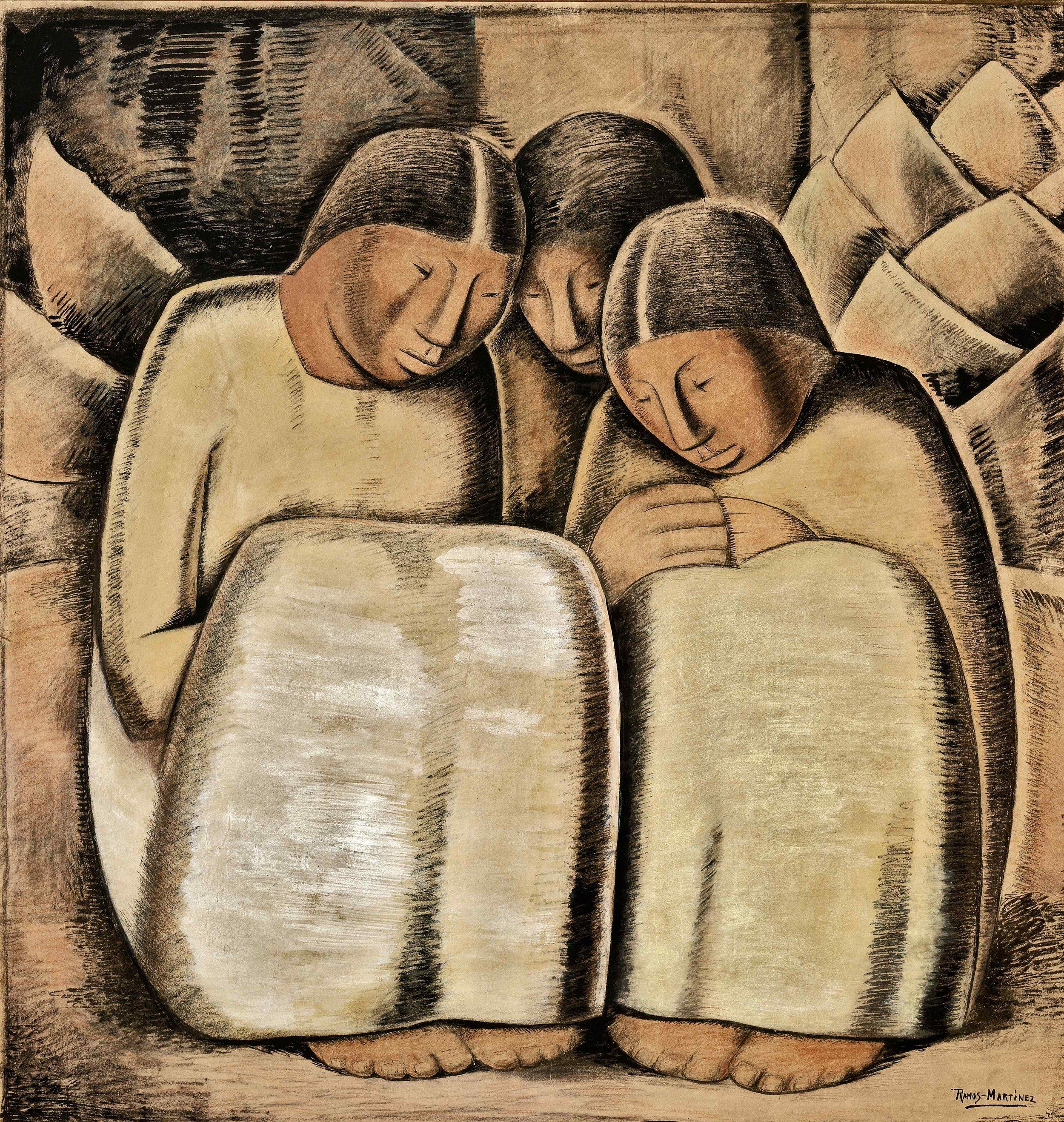 Las Hermanas / The Sisters  ca. 1934 tempera, Conté crayon and wash on board / temple, crayon Conté y aguada sobre tabla 34.3 x 33.3 inches; 87 x 84.5 centímetros Private collection
