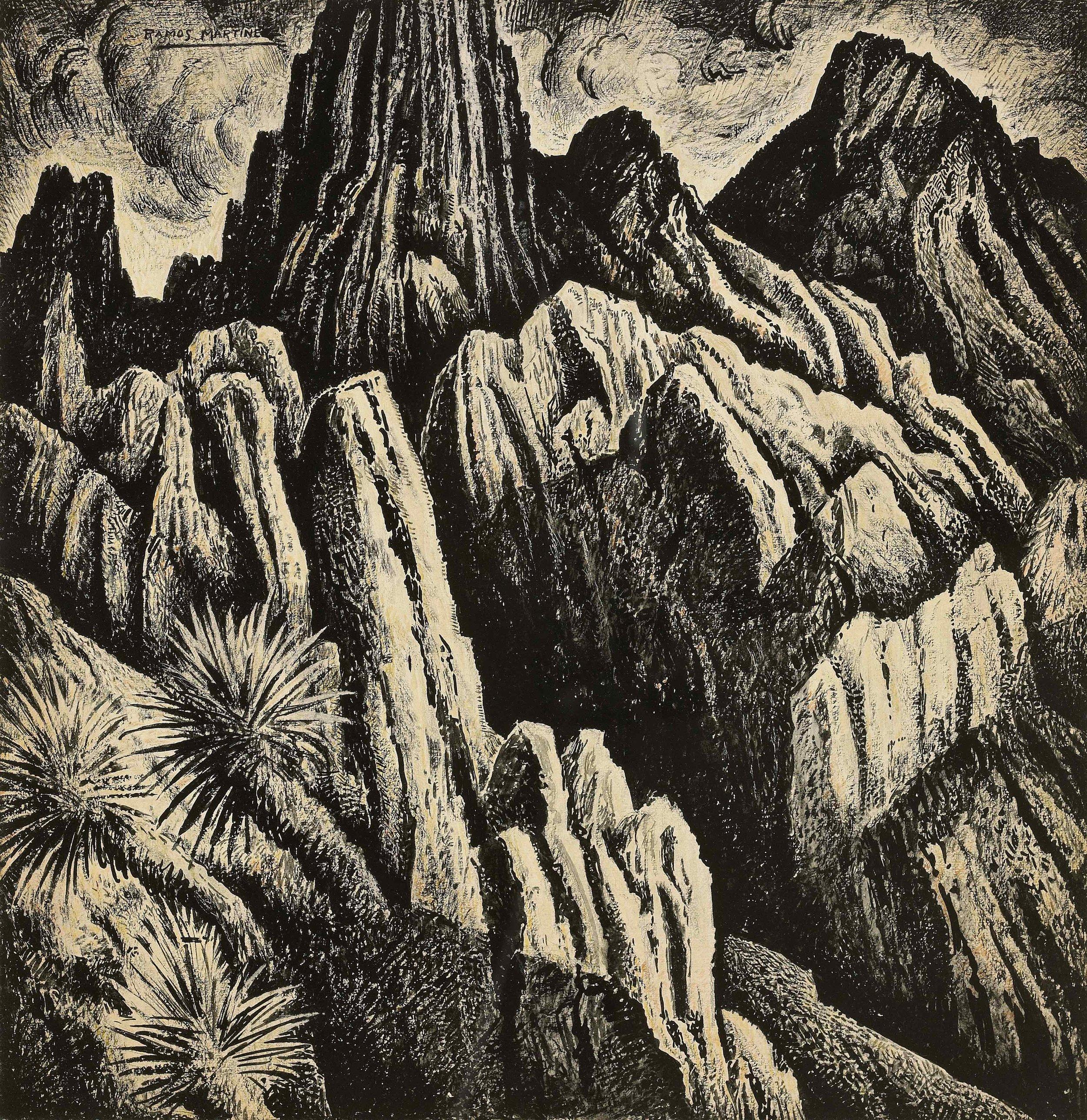Cordillera Mexicana / Mexican Mountain Ridge  1934 tempera on paper / temple sobre papel 18 x 17.5 inches; 45.7 x 44.5 centímetros