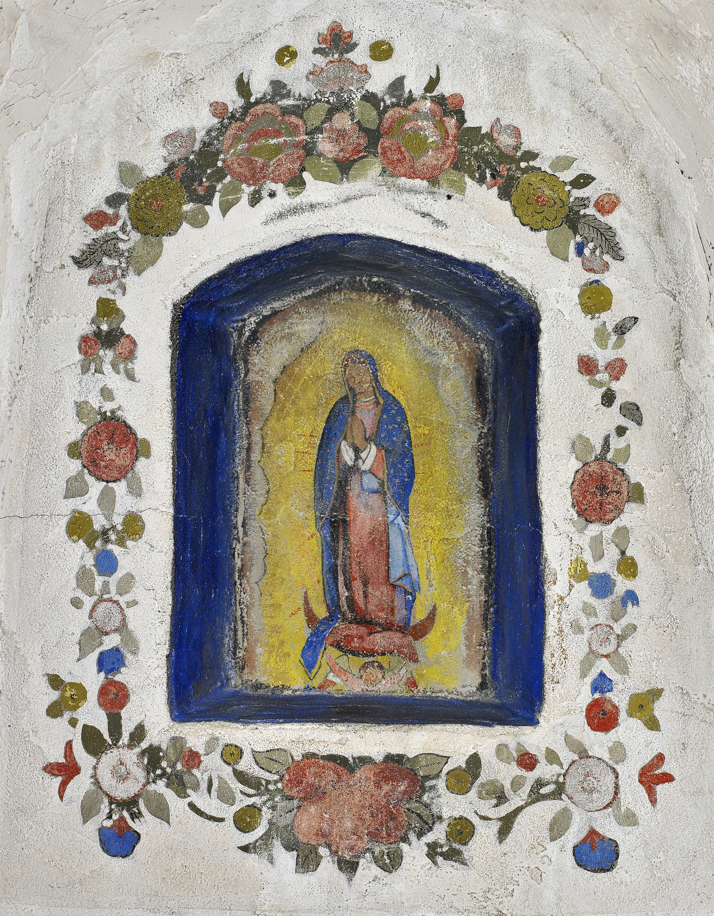 La Virgen de Guadalupe / The Virgin of Guadalupe  ca. 1934 fresco 25 x 19 inches; 63.5 x 48.3 centímetros The Victor Valley Museum and Art Gallery