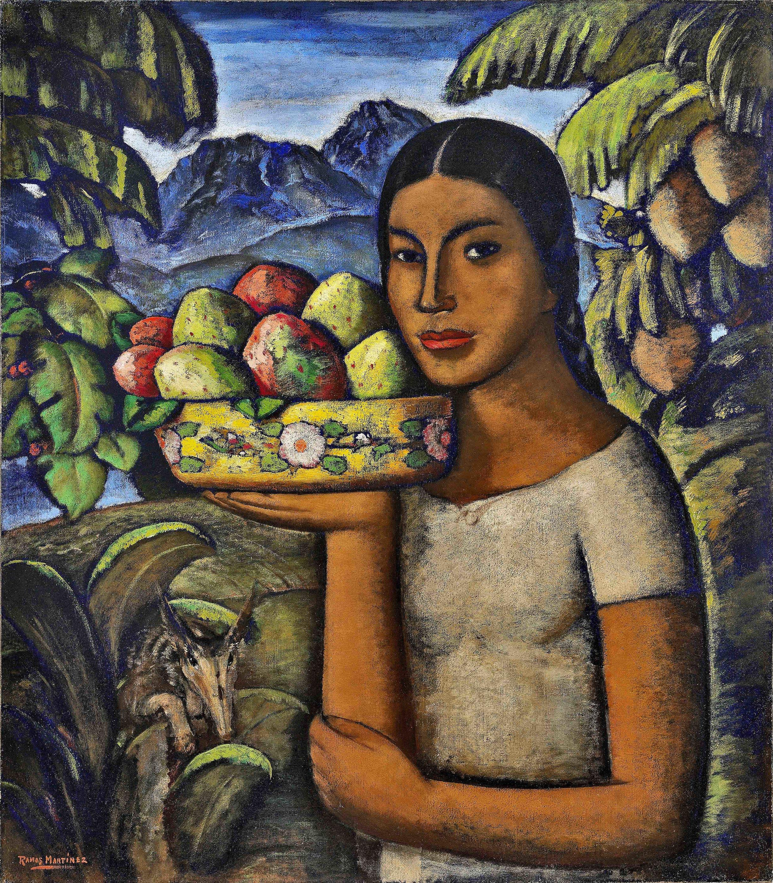 Mujer con Tunas / Woman with Prickly Pears  ca. 1934 oil on canvas / óleo sobre tela 32 x 28 inches; 81.3 x 71.1 centímetros