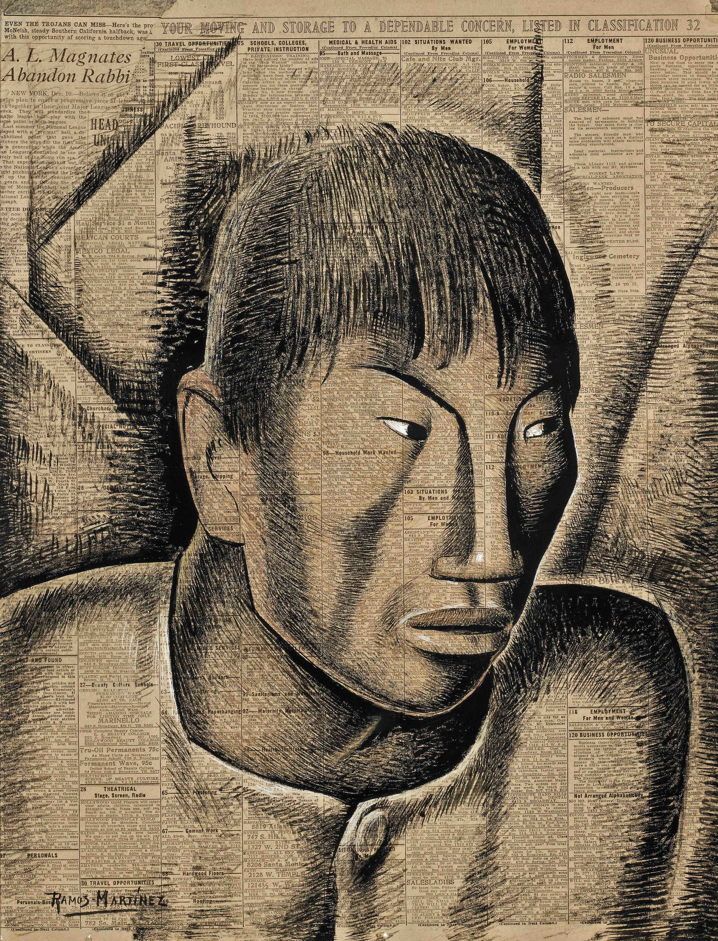 Cabeza Indígena / Indian Head  1934 tempera on newsprint / temple sobre papel periódico ( Los Angeles Times , 1934) 21.3 x 16.3 inches; 54 x 41.3 centímetros Private collection