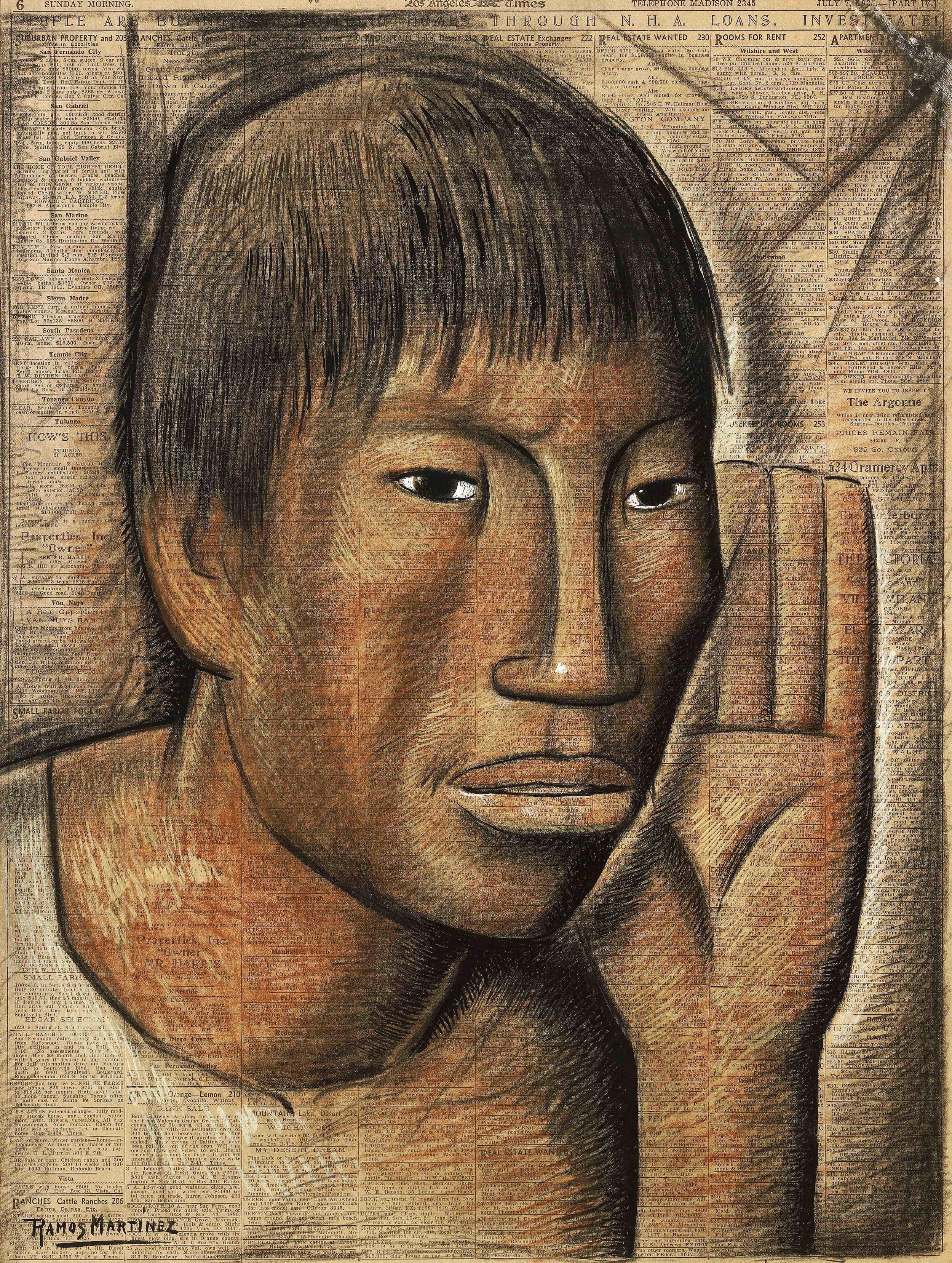 Cabeza de Joven / Head of a Young Man  1935 tempera and Conté crayon on newsprint / temple y crayon Conté sobre papel periódico (Los Angeles Times, July 7, 1935) 23.1 x 17.5 inches; 58.8 x 44.5 centímetros Private collection