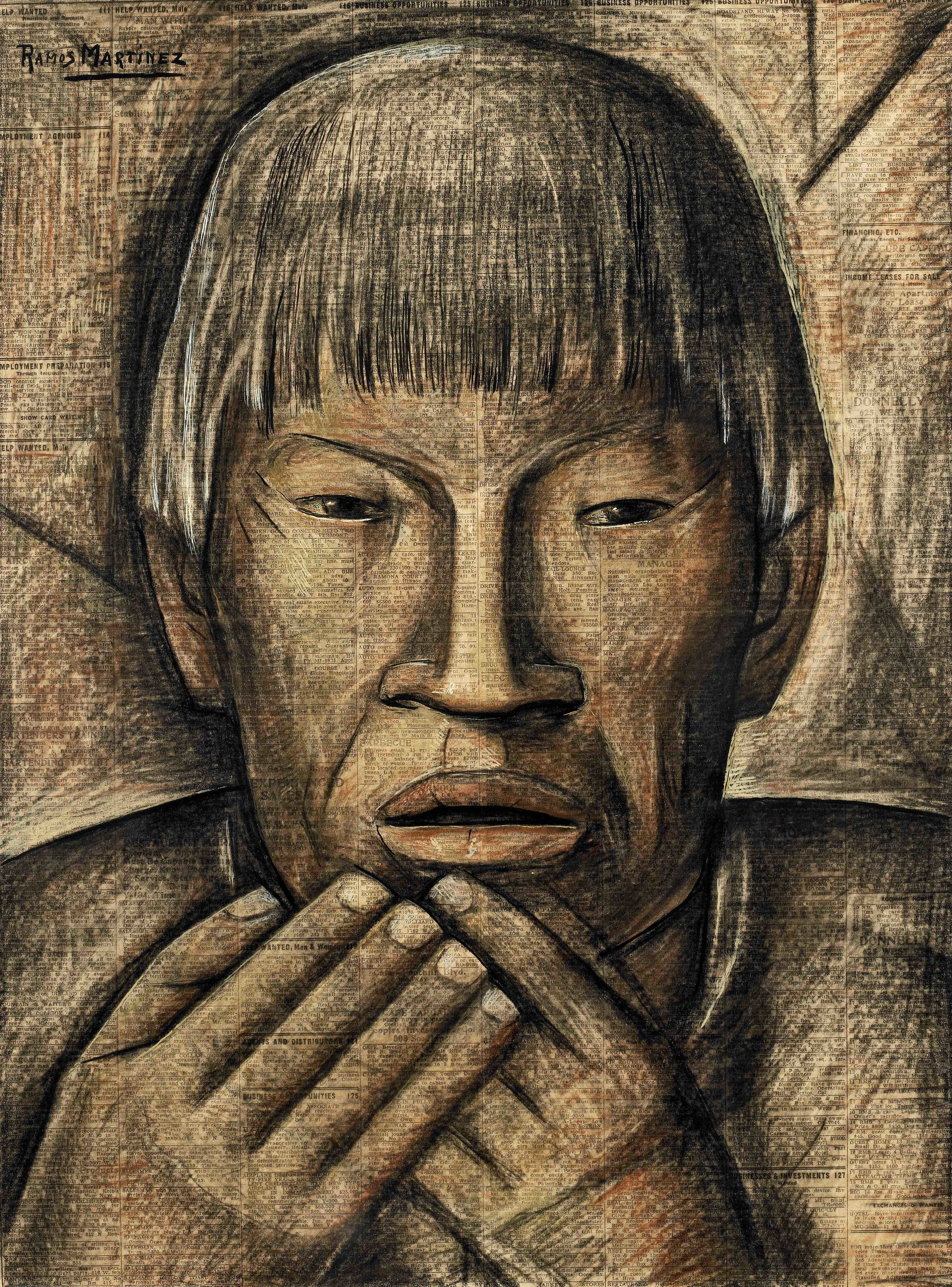 El Más Viejo del Pueblo / The Oldest Man in the Village  ca. 1935 tempera and Conté crayon on newsprint / temple y crayon Conté sobre papel periódico ( Los Angeles Times ) 21.1 x 15.6 inches / 53.7 x 39.7 centímetros Private collection