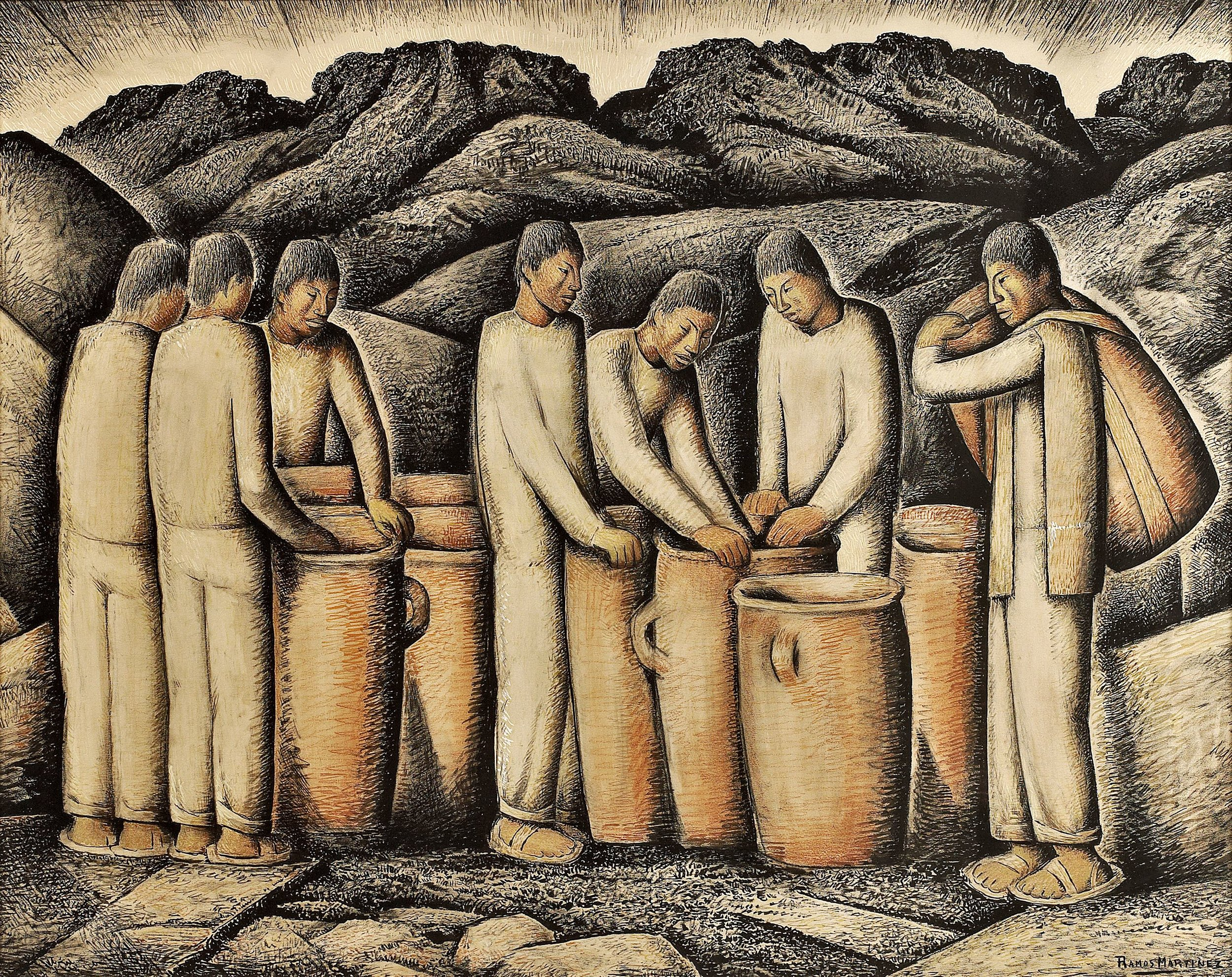 Jarras / Jars  1935 gouache and Conté crayon on paper / aguada y crayon Conté sobre papel 21.9 x 27.9 inches; 55.6 x 70.9 centímetros Private collection