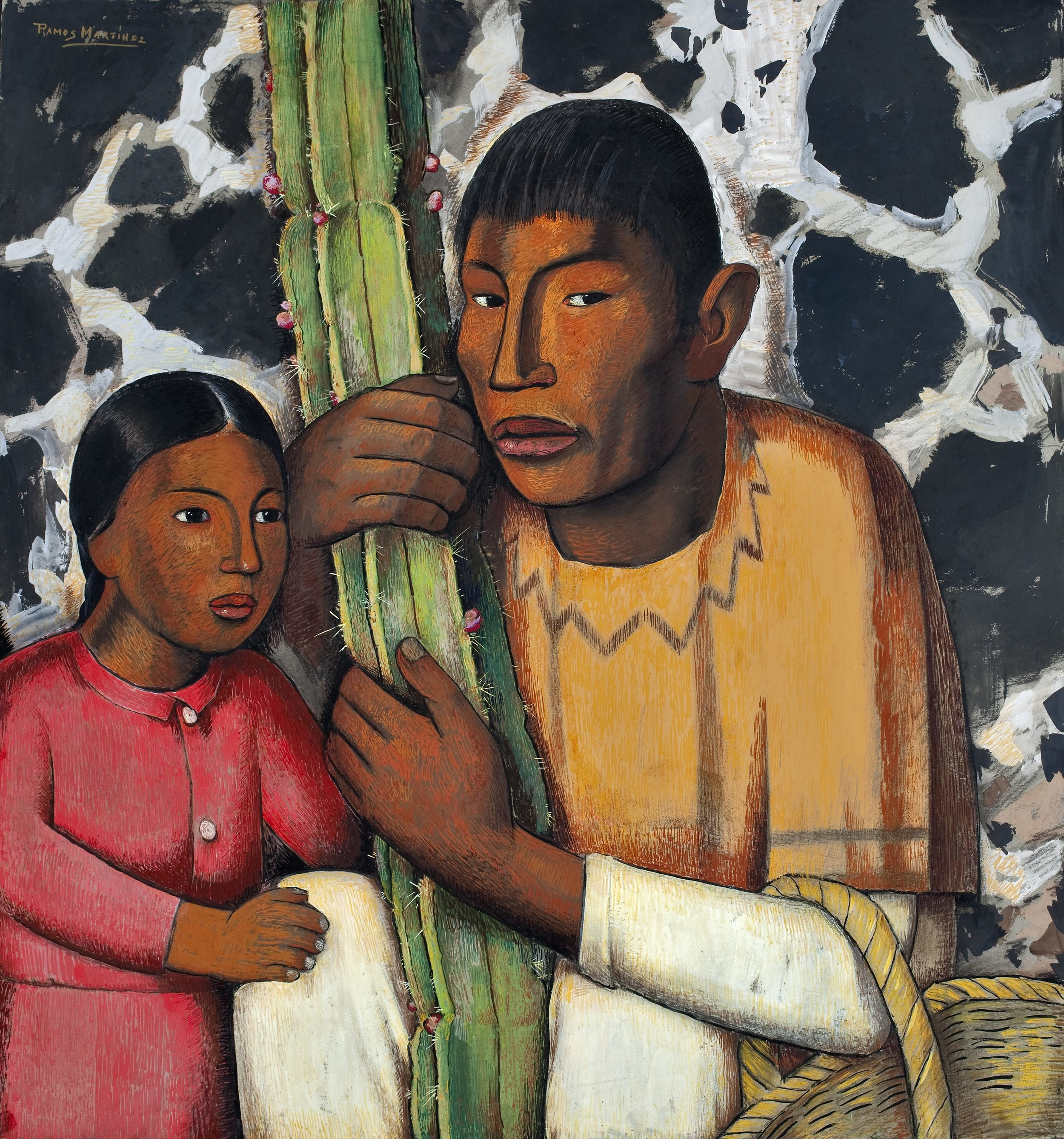 Indio del Cactus / Indian with Cactus  ca. 1938 tempera on paper / temple sobre papel 28.5 x 26.3 inches; 72.4 x 66.7 centímetros San Diego Museum of Art