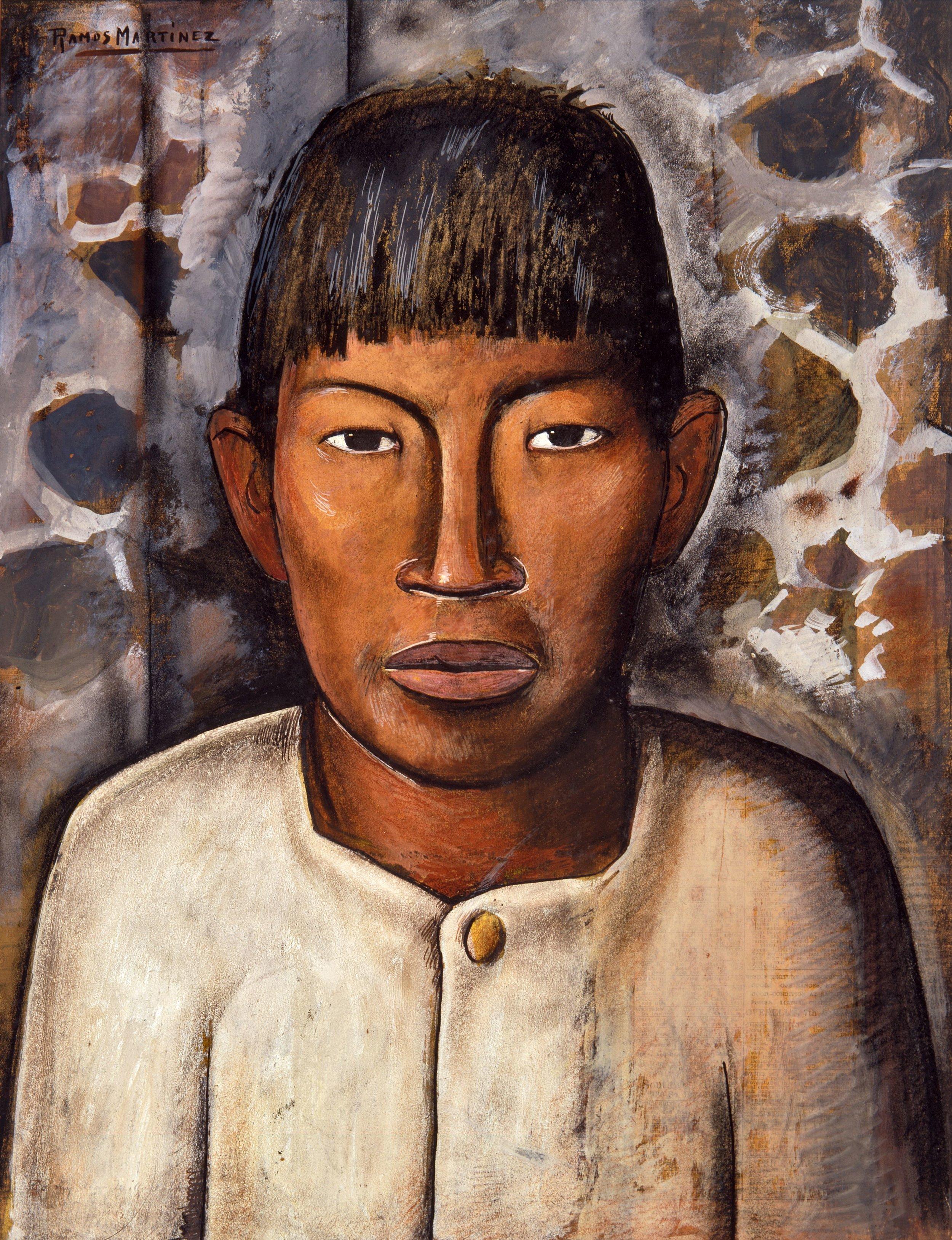Muchacho Mexicano / Mexican Boy  ca. 1938 gouache and charcoal on newsprint / aguada y carbón sobre papel periódico 21.3 x 16.5 inches / 54 x 41.9 centímetros Private collection