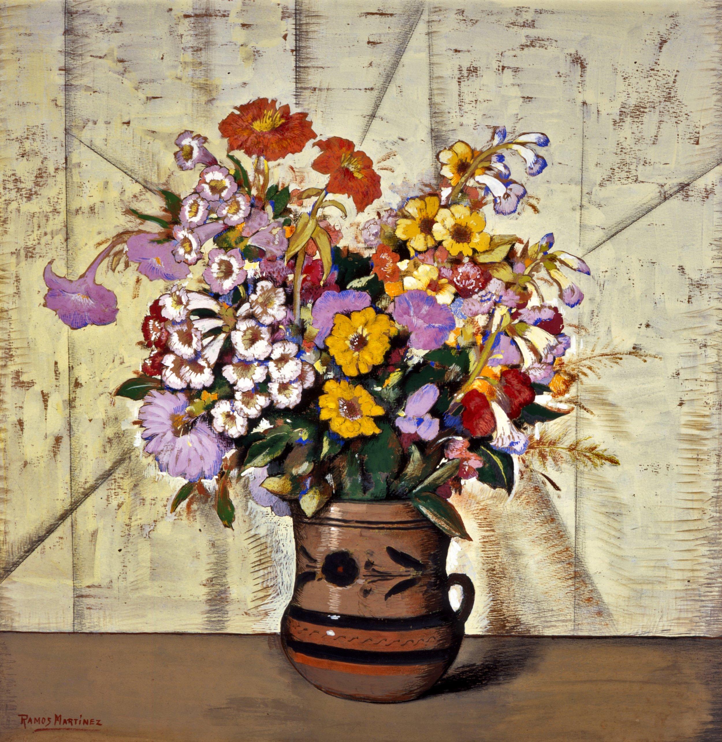 Flores / Flowers  ca. 1935 gouache, charcoal and graphite pen on board / aguada, carbón y lápiz grafito sobra tabla 24.9 x 24 inches; 63.2 x 61 centímetros Private collection