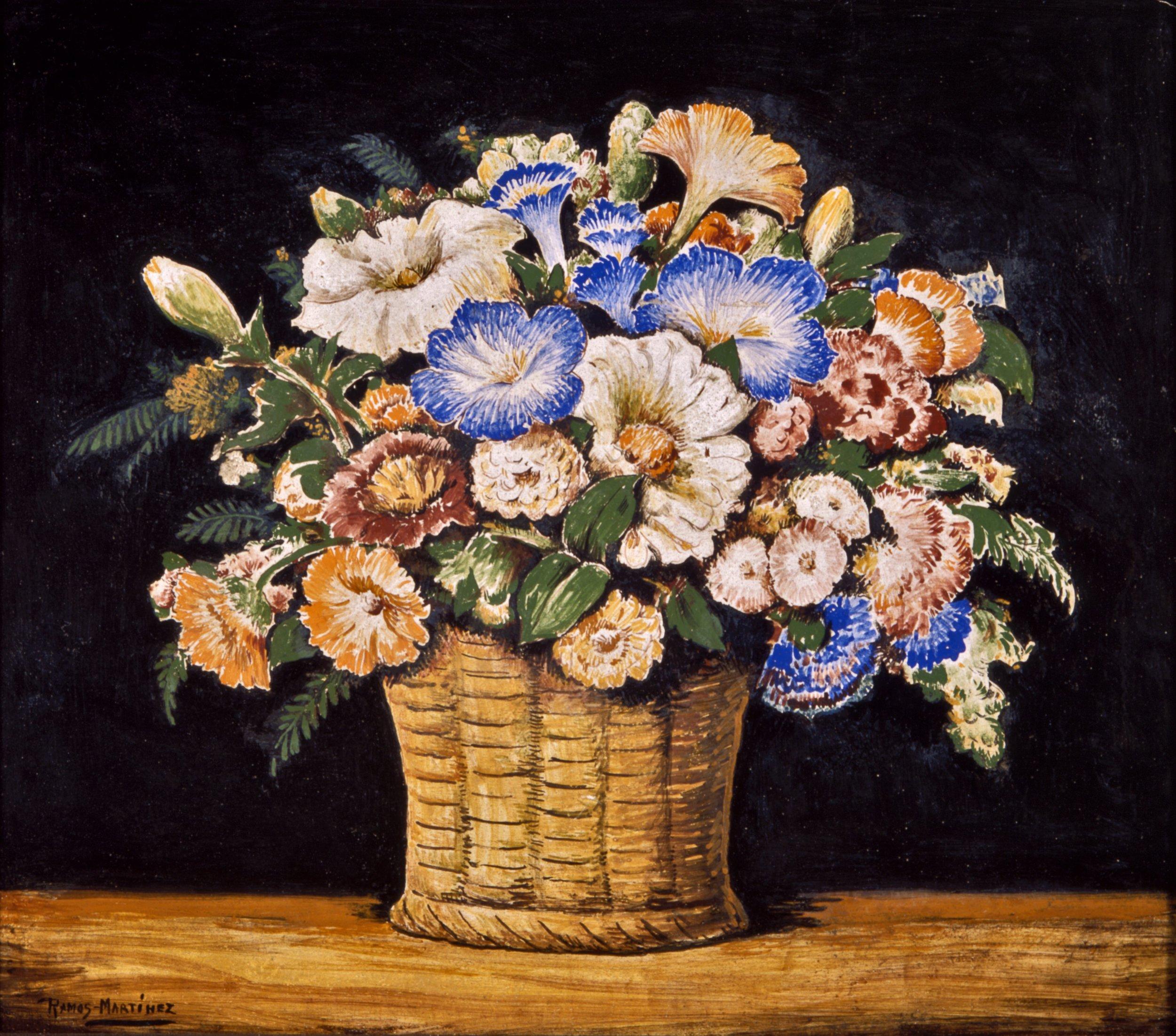 Canasta de Flores / Basket of Flowers  ca. 1935 fresco 15 x 16.8 inches; 38.1 x 42.6 centímetros