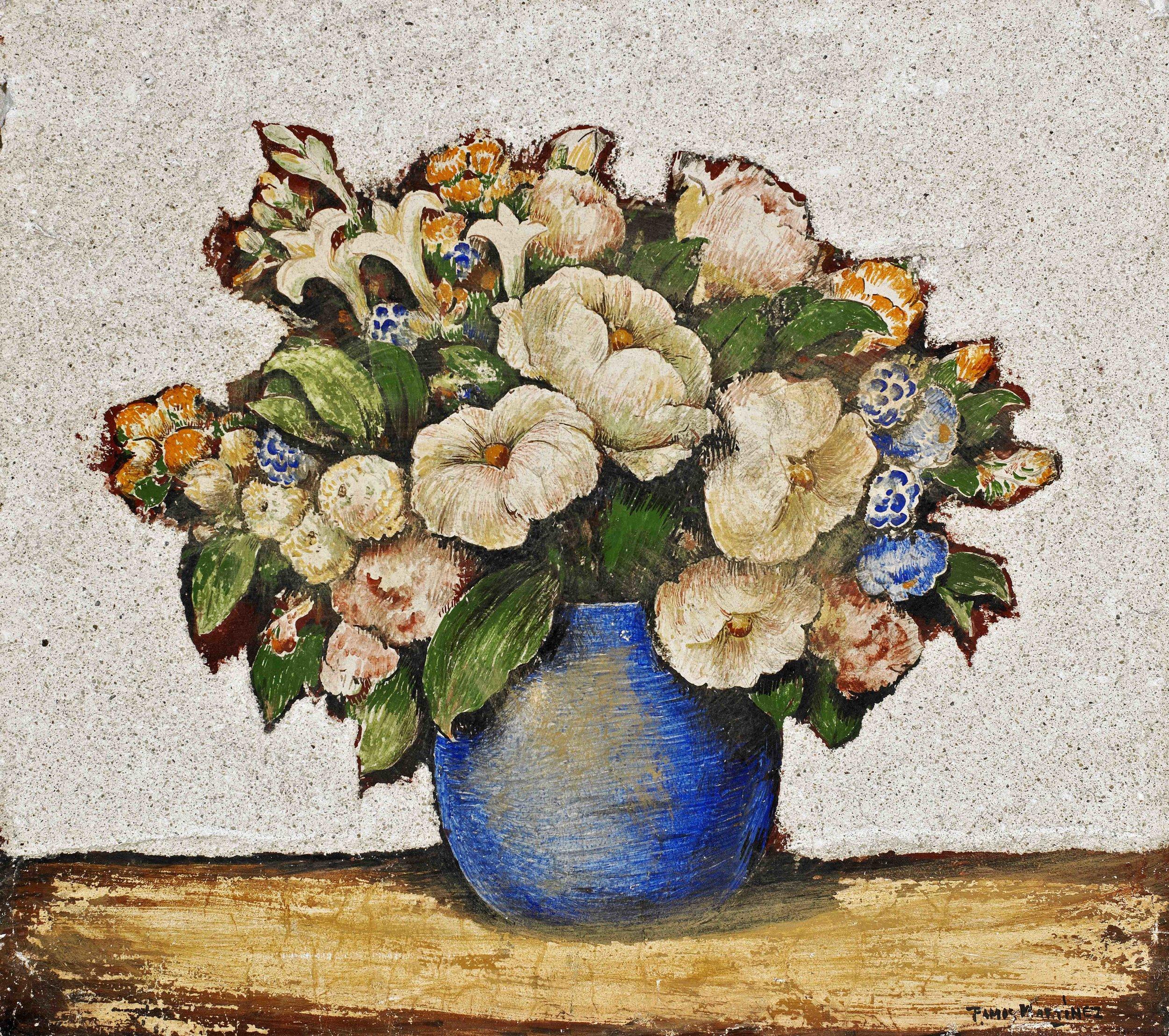 Ramo de Primavera / Spring Bouquet  ca. 1935 fresco 17 x 15.6 inches; 43.2 x 39.7 centímetros Private collection
