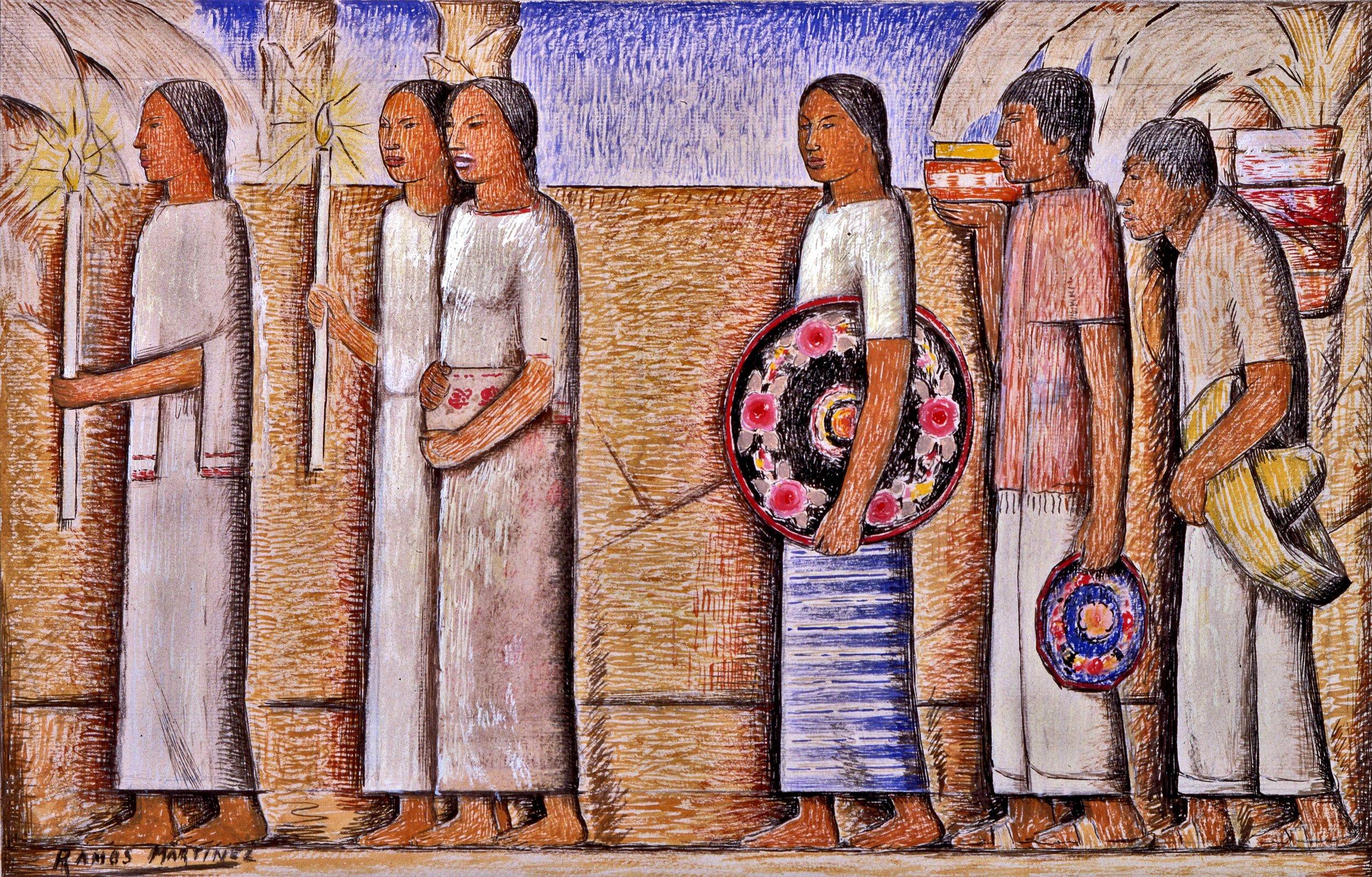 La Procesión / The Procession  ca. 1935 tempera, ink, and graphite on paper / temple, tinta y grafito sobre papel 10.8 x 17 inches / 27.3 x 43.2 centímetros Private collection