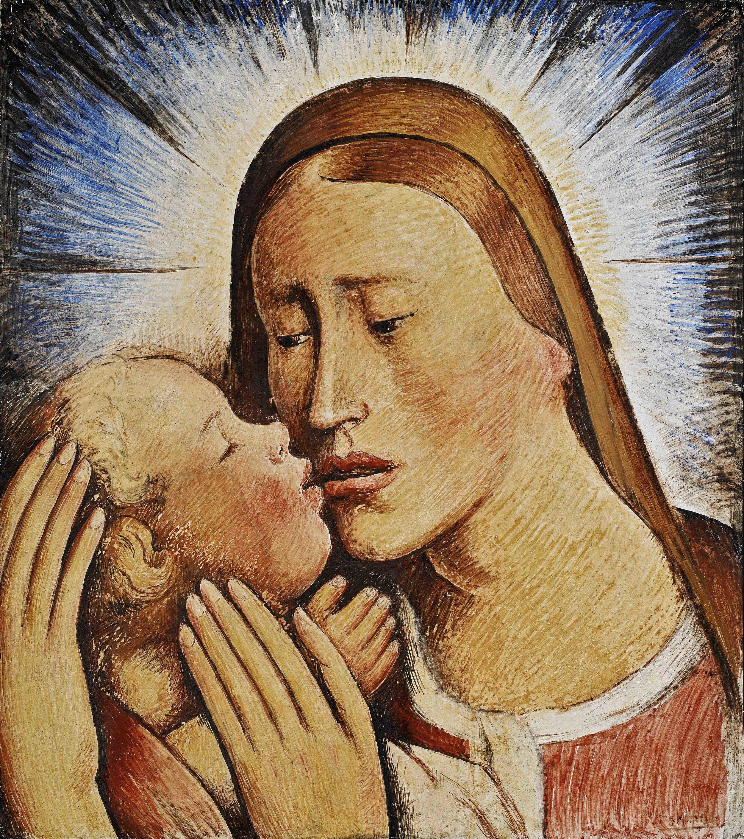 Virgen y Niño / Madonna and Child  ca. 1935 fresco 17 x 15.7 inches; 43.2 x 39.7 centímetros Private collection