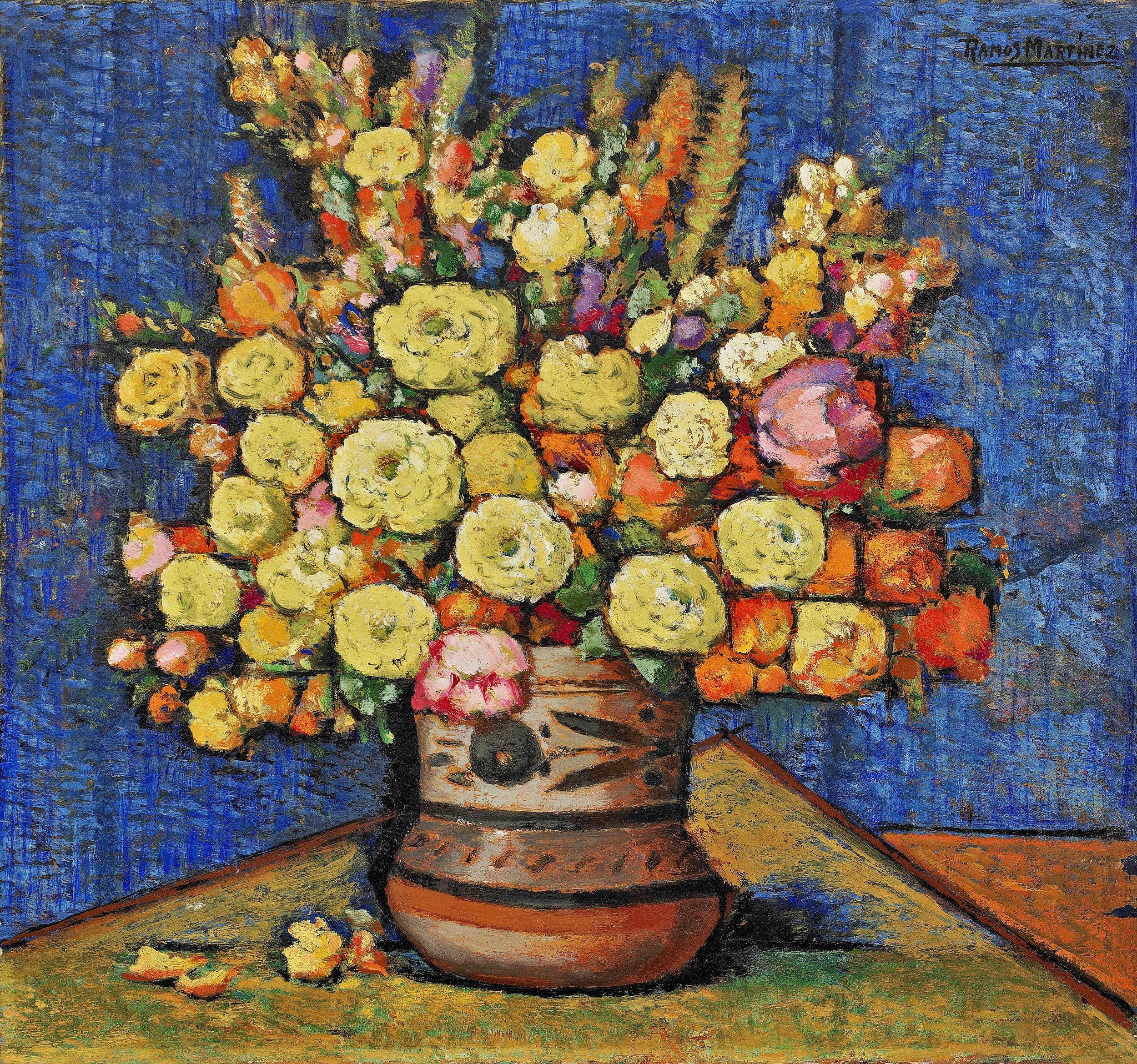 Flores en Jarro Mexicano / Flowers in a Mexican Vase  ca. 1936 oil on board / óleo sobre tabla  14.5 x 15.3 inches; 36.8 x 38.7 centímetros Private collection