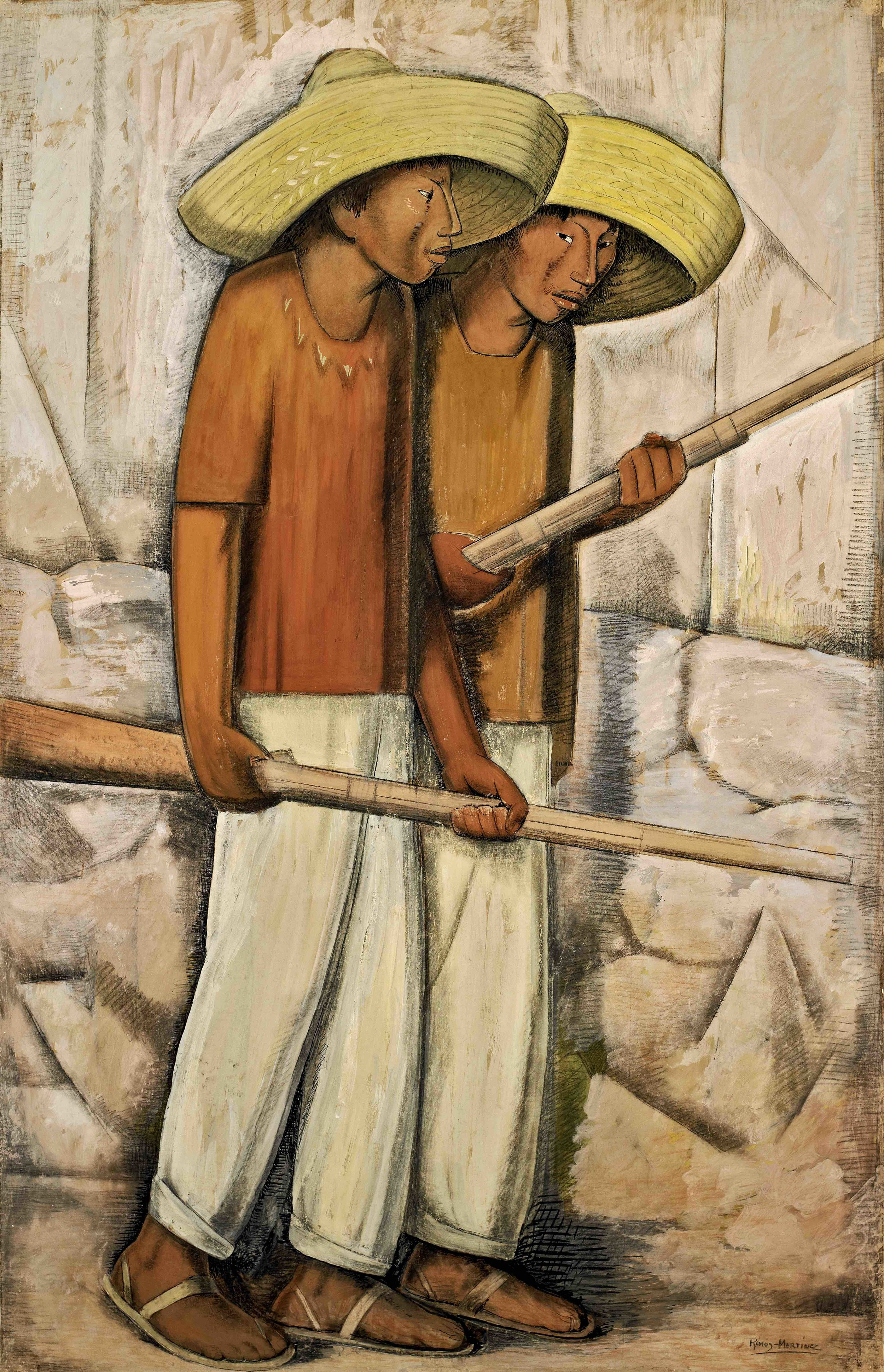 Rurales / Men of the Countryside  ca. 1935 tempera and Conté crayon on paper mounted on board / temple y crayon Conté sobre papel sobre tabla 69.5 x 43.4 inches; 176.5 x 110.2 centímetros